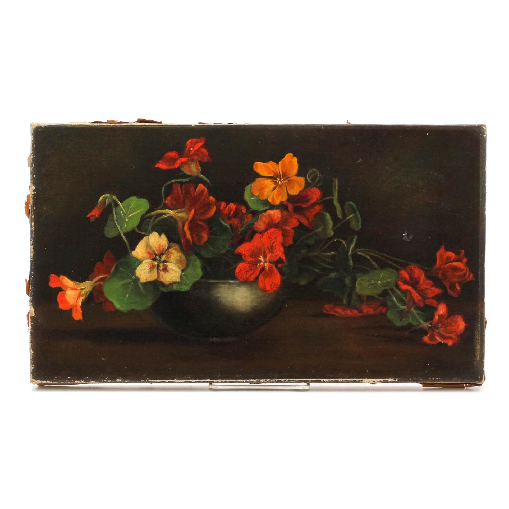Antique Oil Painting Nasturtiums Still Life