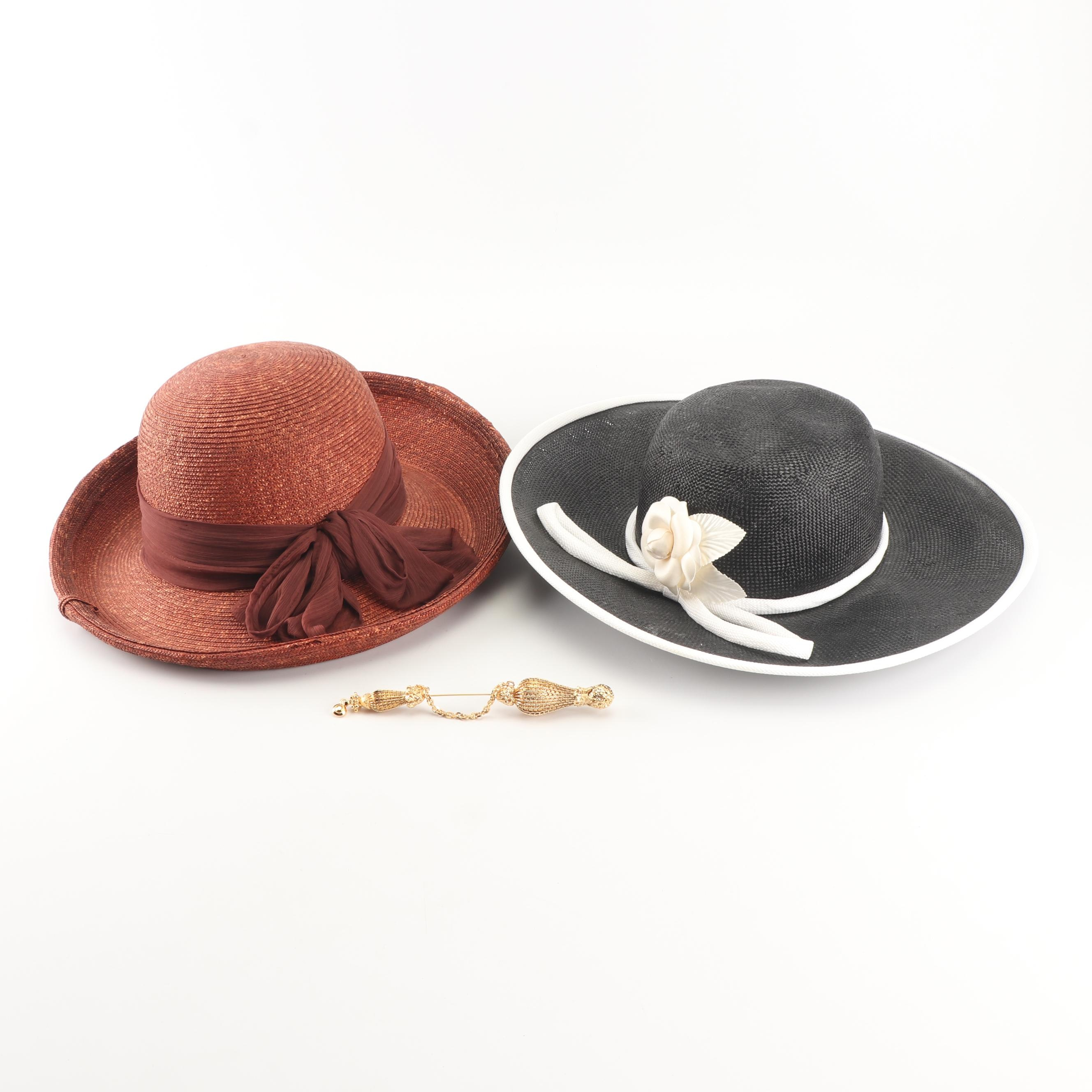 Saks Fifth Avenue Woven Breton and Wide Brimmed Hats with Gold Tone Stick Pin