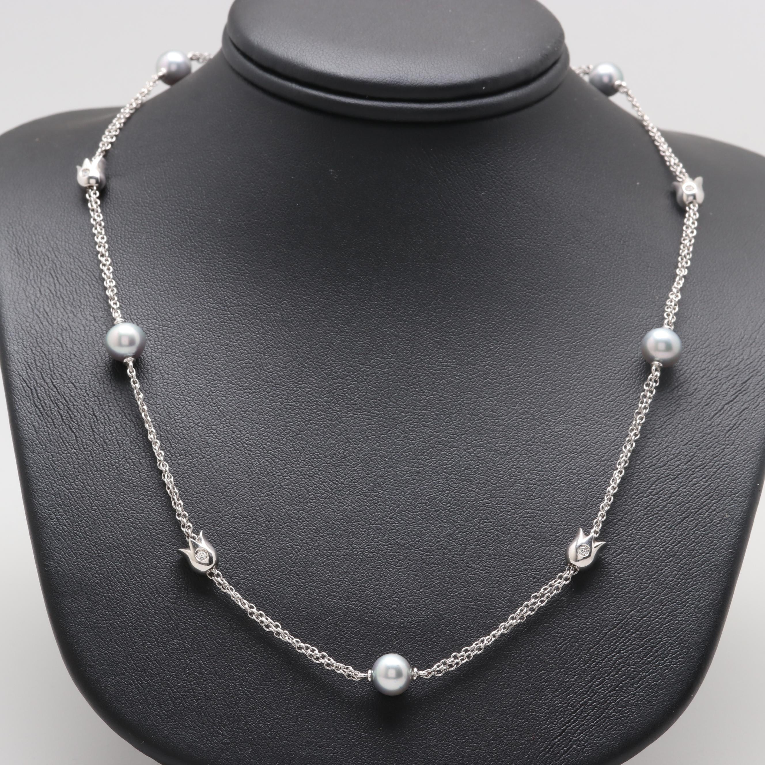 Mikawa by Damiani 18K White Gold Cultured Pearl and Diamond Station Necklace