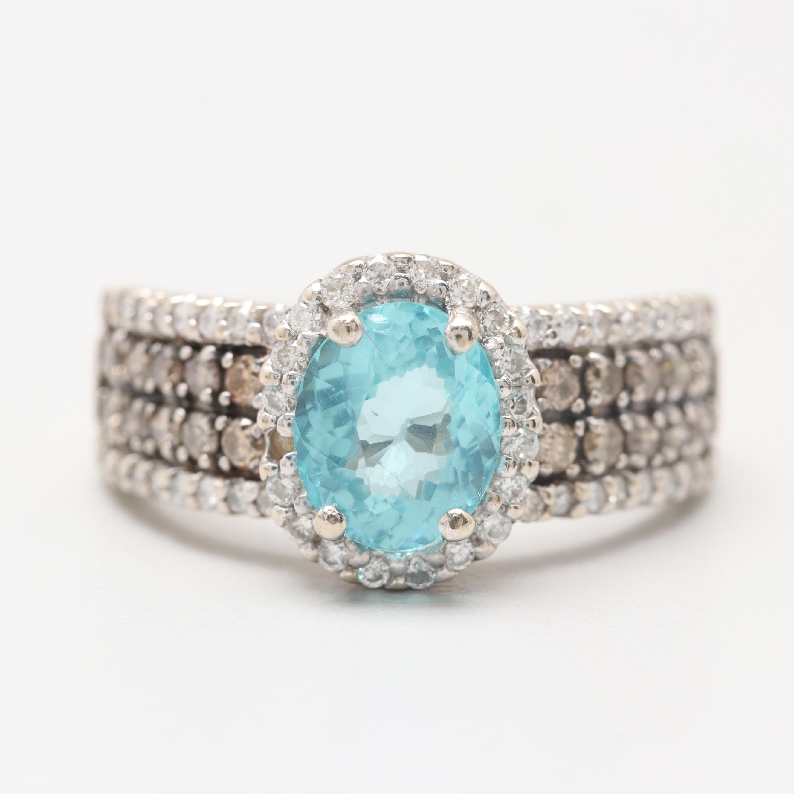14K White Gold Apatite and Diamond Ring