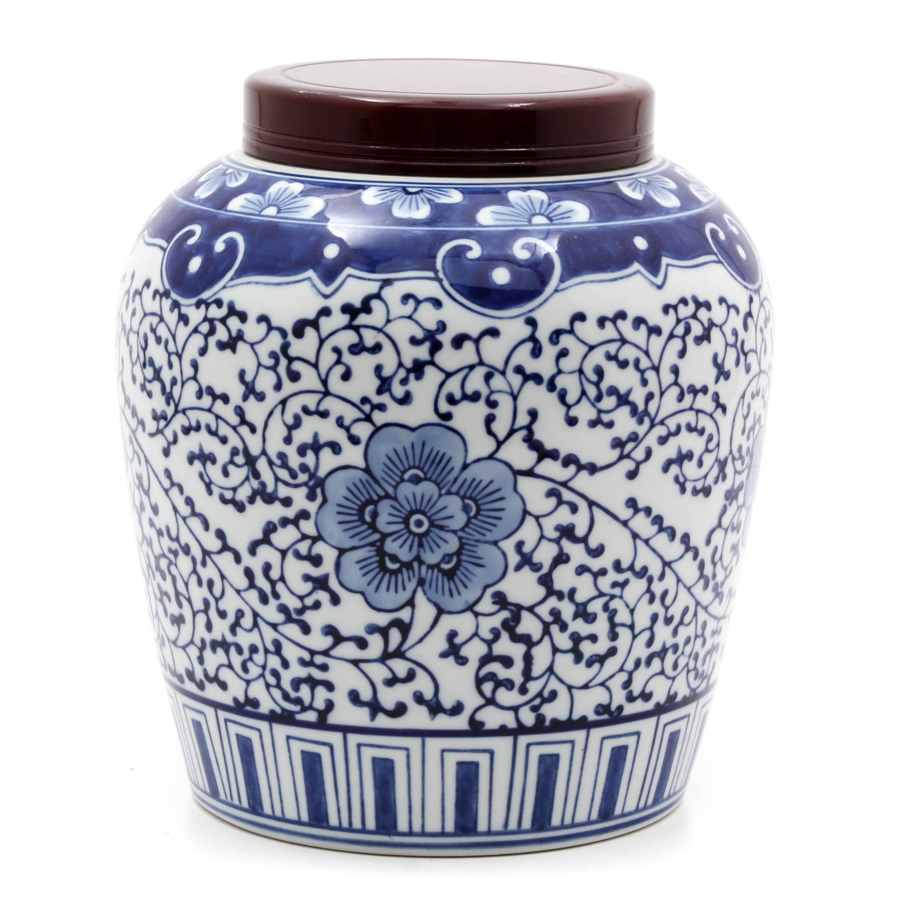 Contemporary Chinese Blue and White Ginger Jar with Wooden Lid