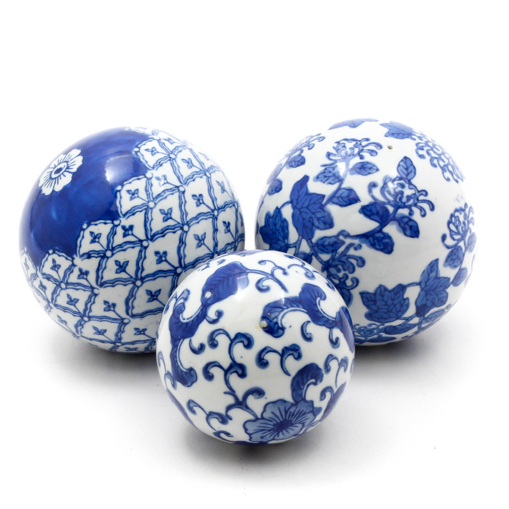 Chinese Blue and White Ceramic Orbs