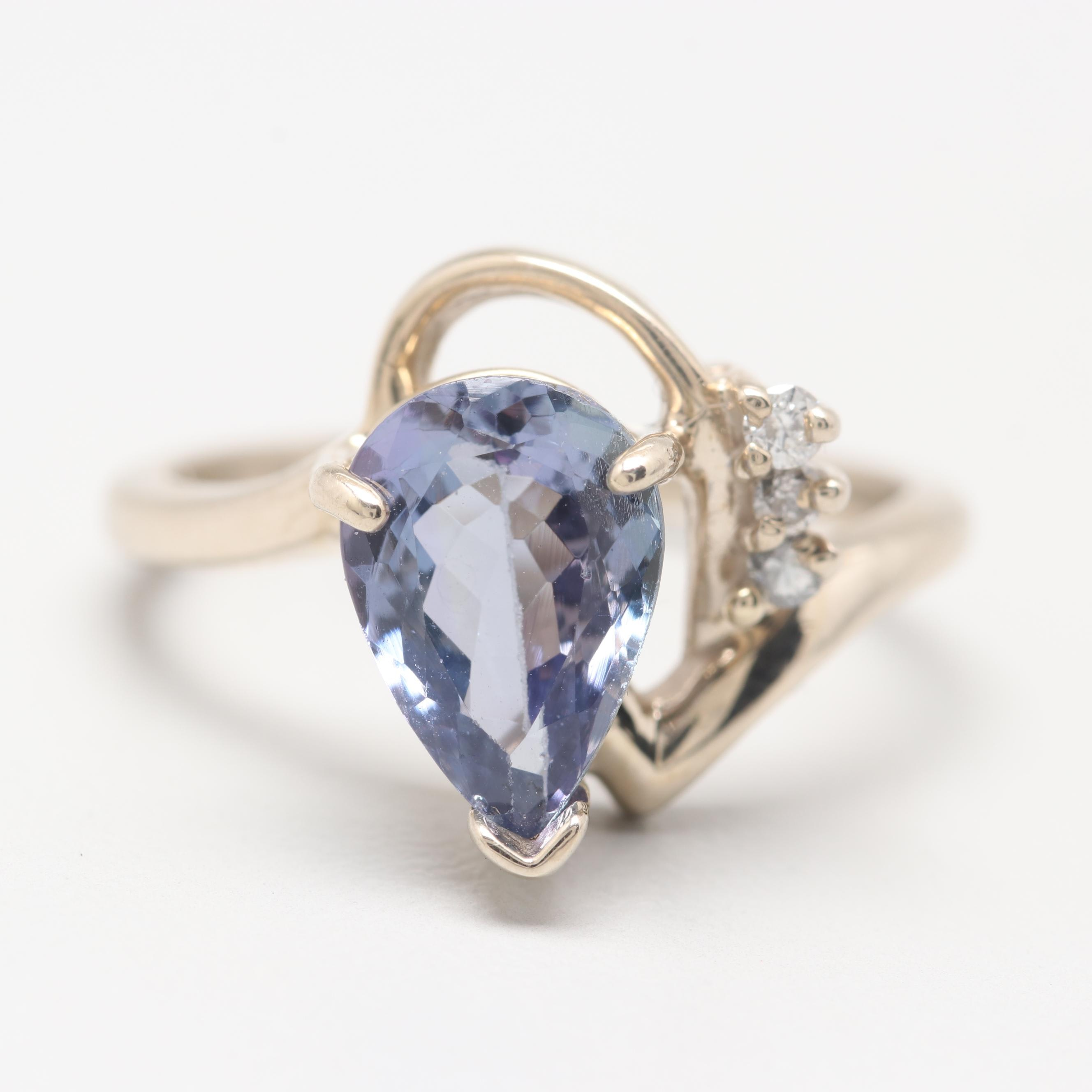 14K White Gold Tanzanite Ring with Diamond Accents