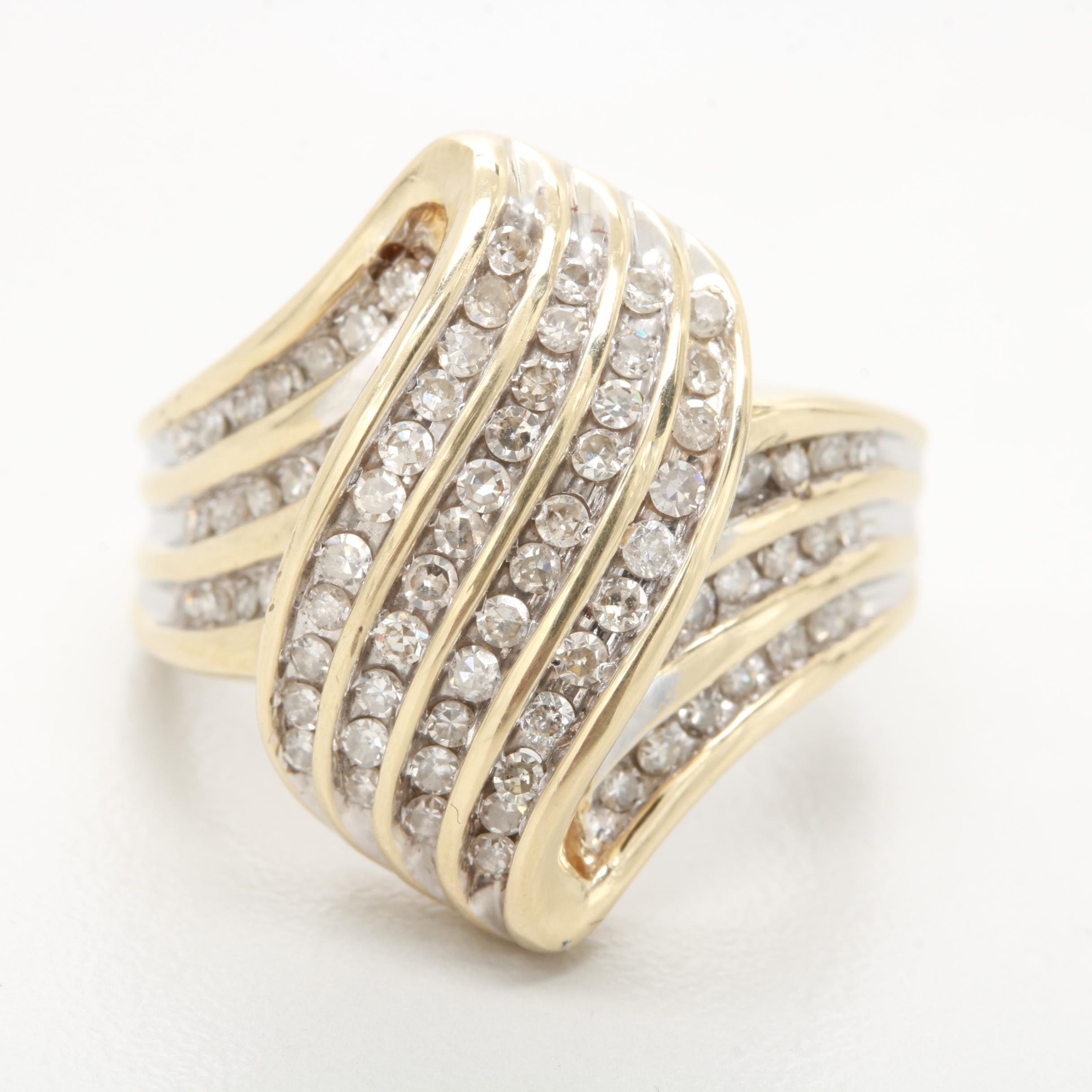 14K Yellow Gold 0.90 CTW Diamond Bypass Swag Ring