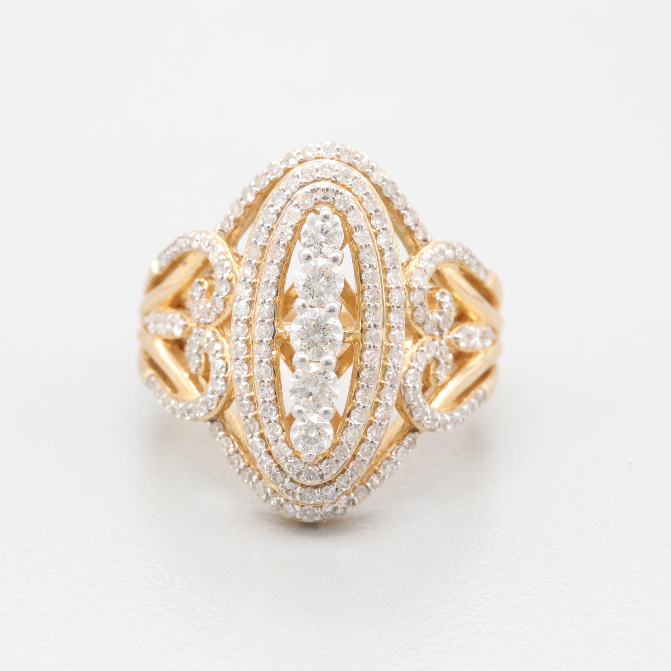 14K Yellow Gold 1.04 CTW Diamond Ring