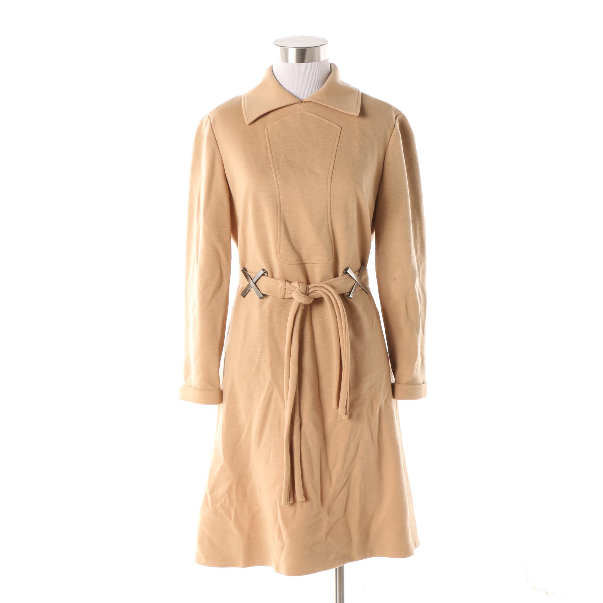 Women's Vintage Louis Féraud for Saks Fifth Avenue Tan Knit Shirt Dress