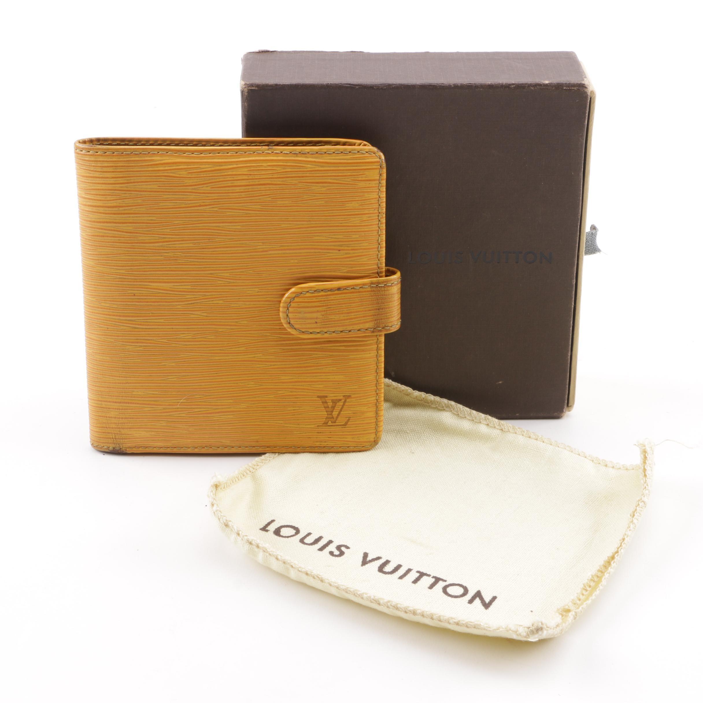 1999 Louis Vuitton Tassil Yellow Epi Leather Wallet with Box