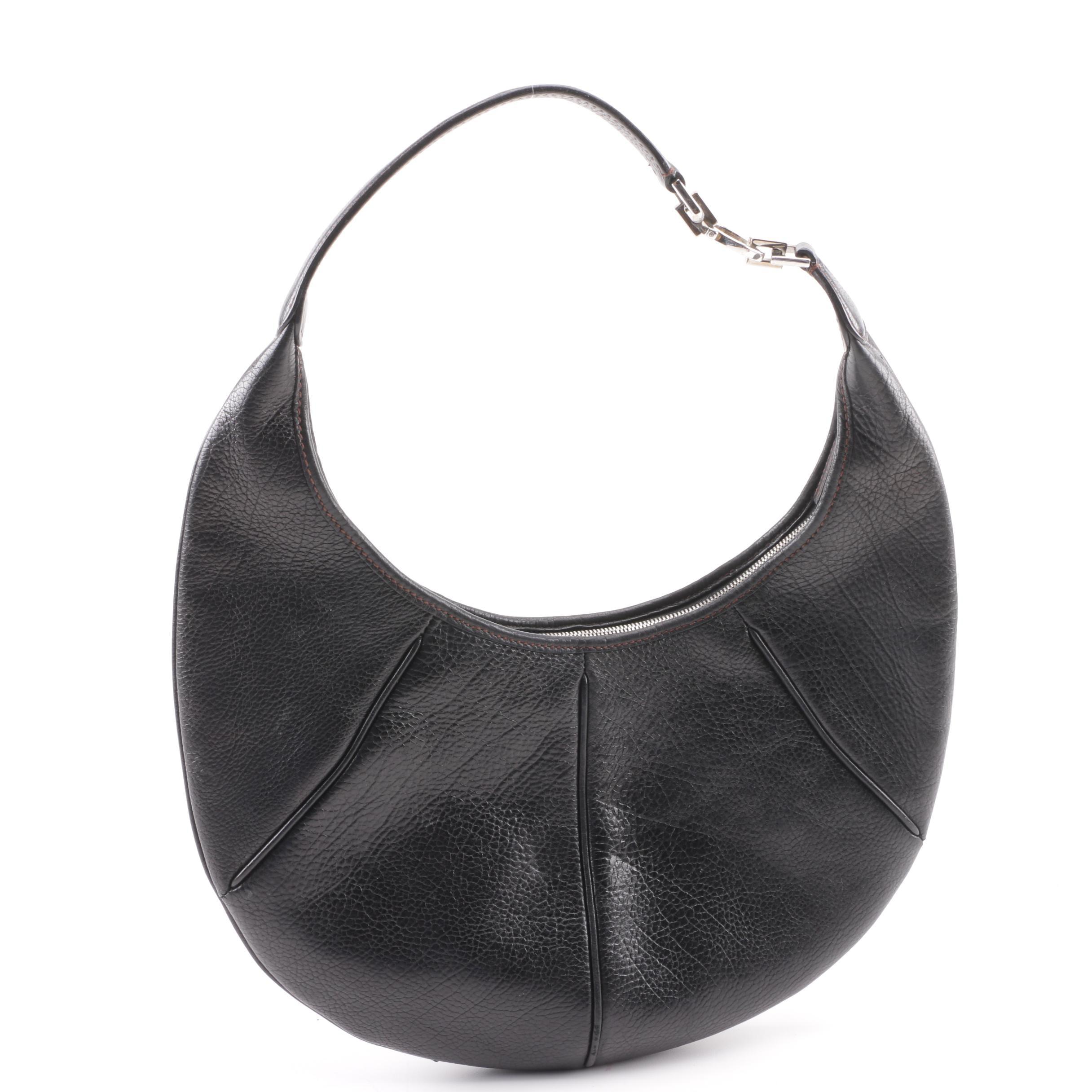 Salvatore Ferragamo Black Pebbled Leather Hobo Bag