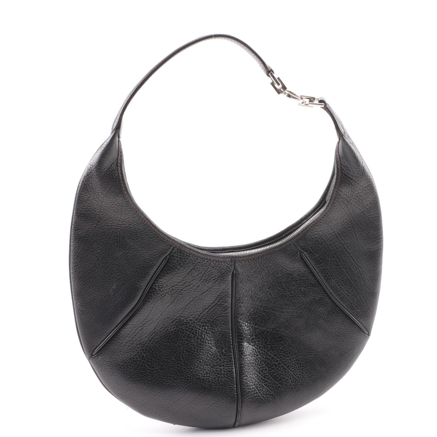 Salvatore Ferragamo Black Pebbled Leather Hobo Bag   EBTH 192793ca7daca
