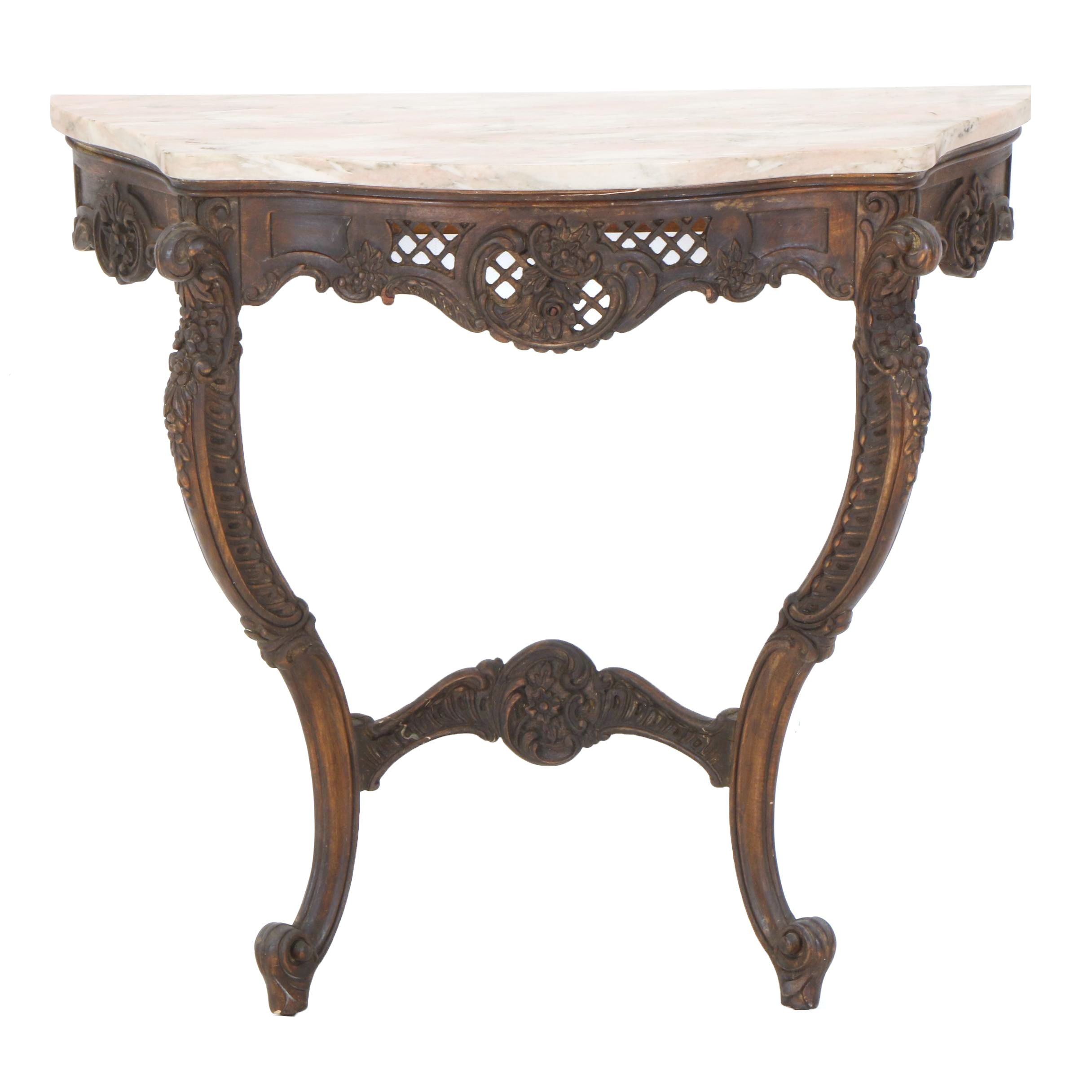 Renaissance Revival Walnut Console Table, Late 19th  Century