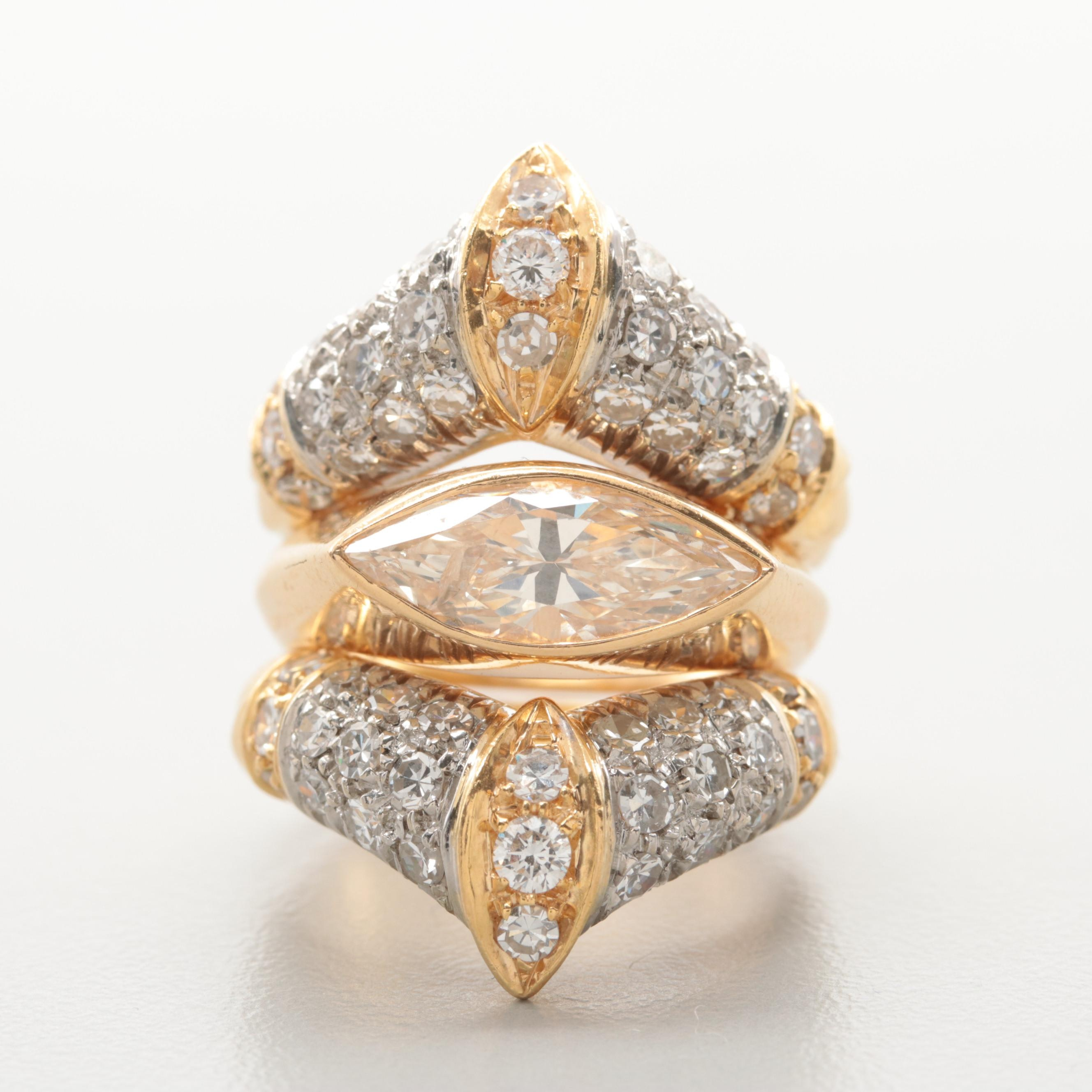 18K Yellow Gold 3.47 CTW Diamond Ring