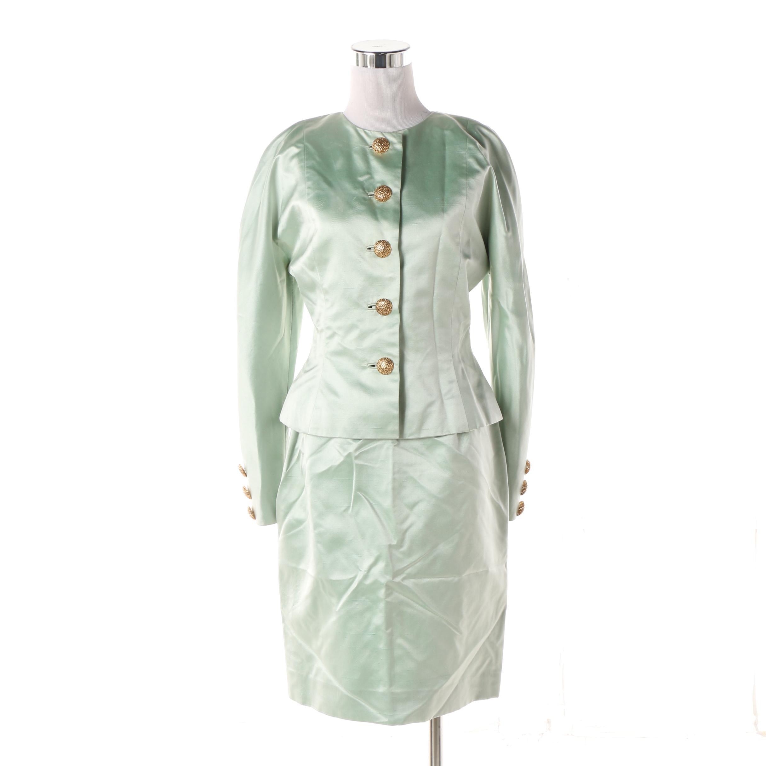 Women's Mid 1970s Vintage Oscar de la Renta Silk Satin Skirt Suit