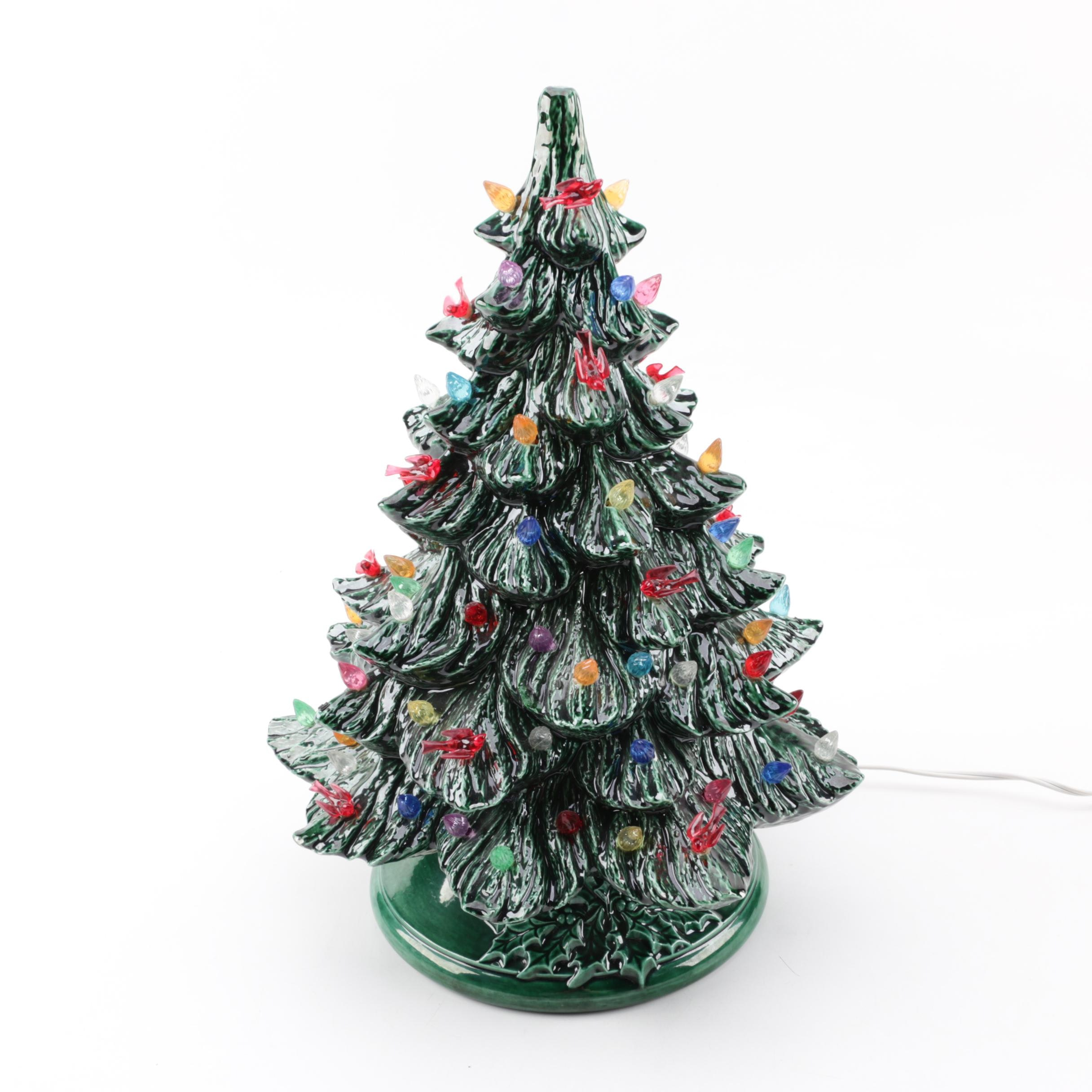 Hand-Painted Ceramic Christmas Tree Lamp, Circa 1970s