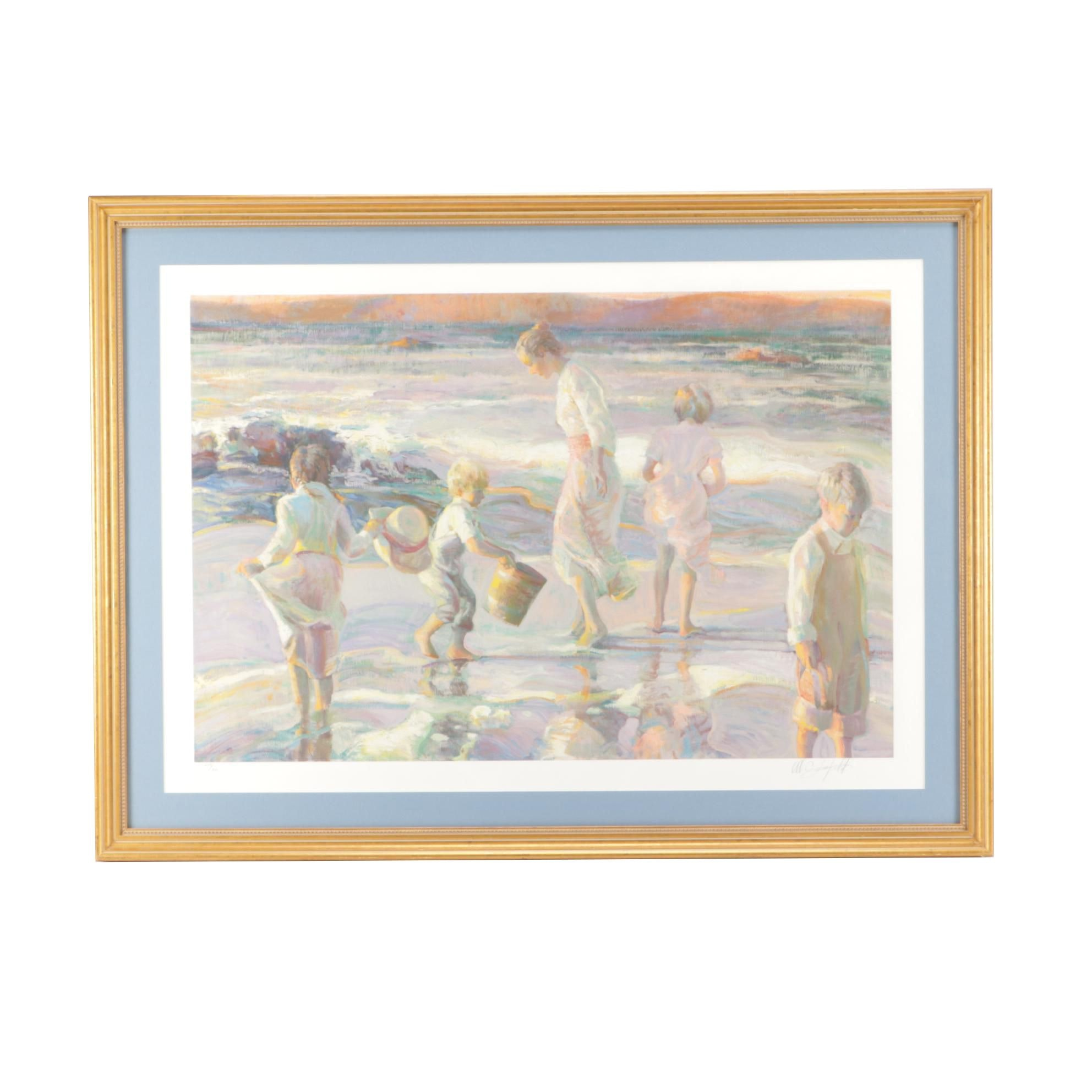 Limited Edition Serigraph of Children at Seashore
