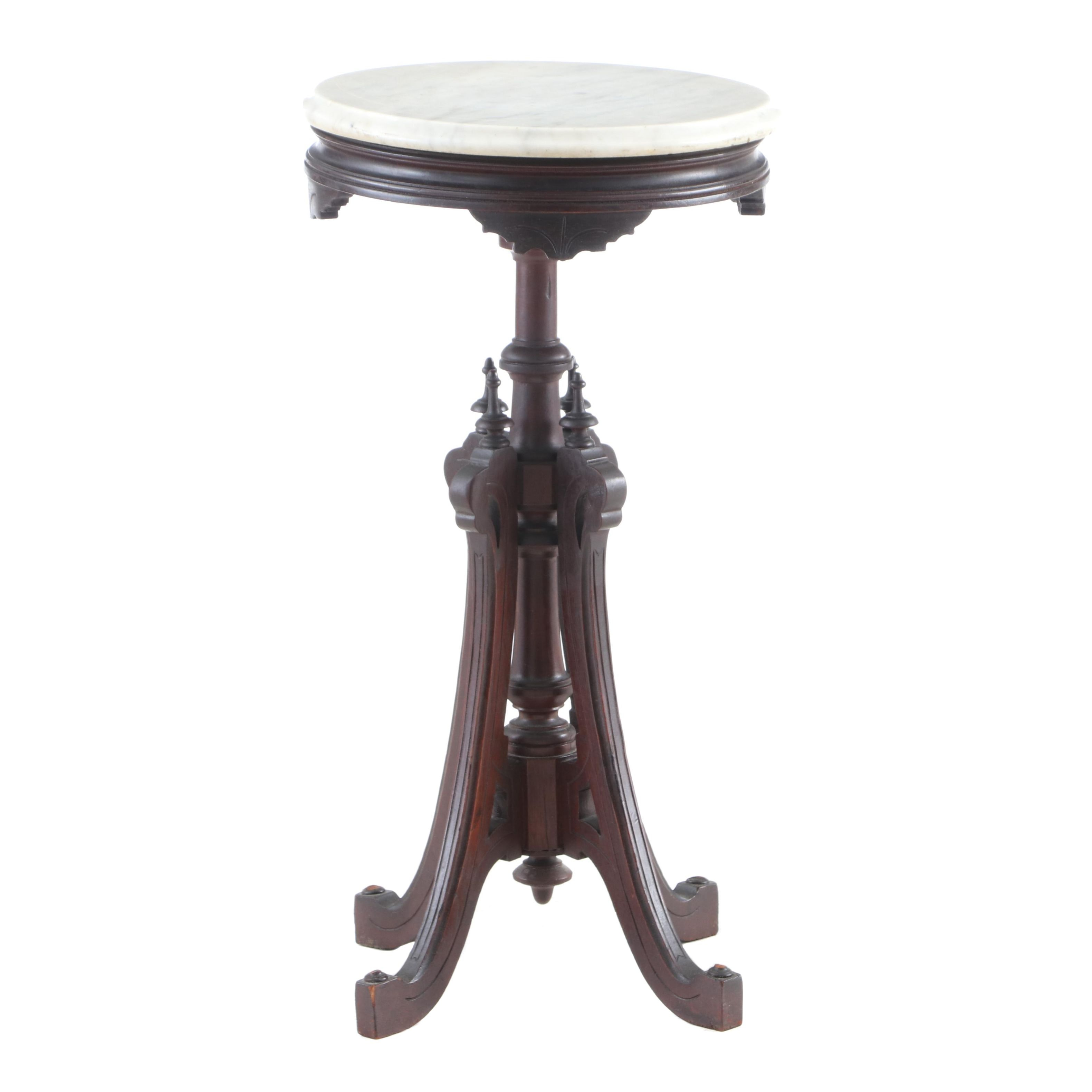 Victorian Marble and Mahogany Side Table, Mid-19th Century