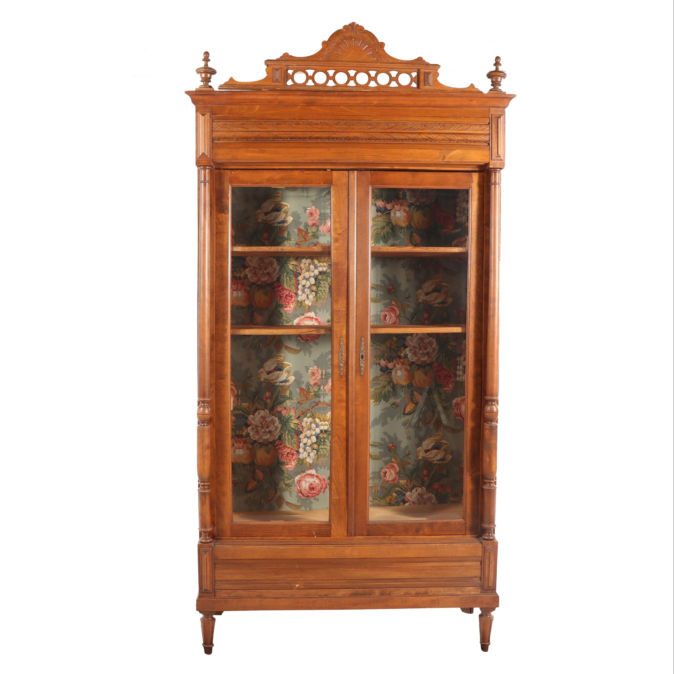 Federal Style Mixed Wood China Cabinet, 20th Century