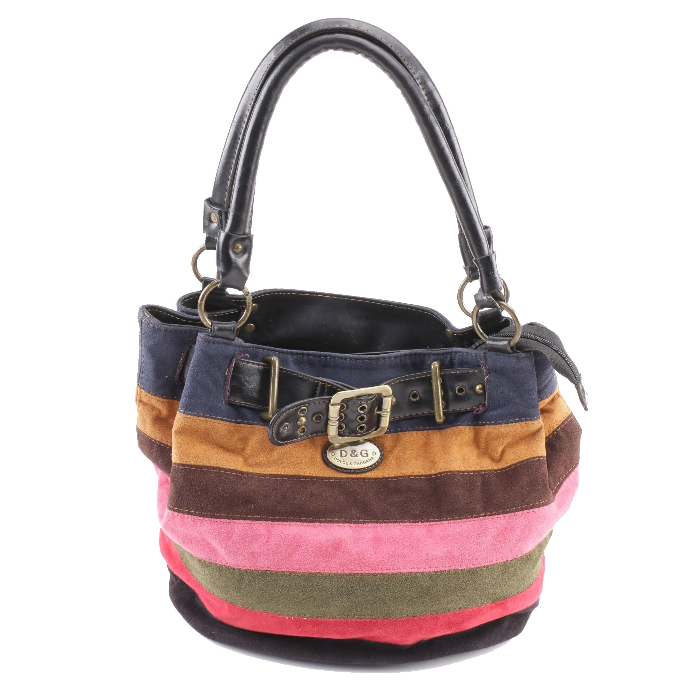 Dolce & Gabbana Multicolor Striped Suede Shoulder Bag