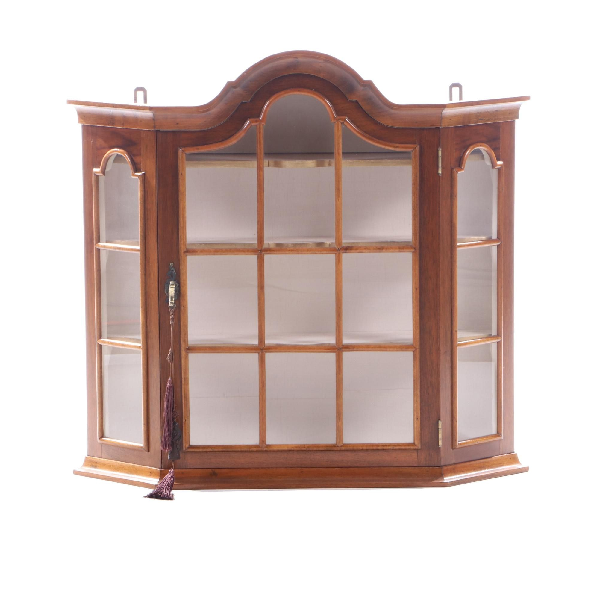 Federal Style Mahogany Veneer Display Wall Mount Cabinet, Late 20th Century