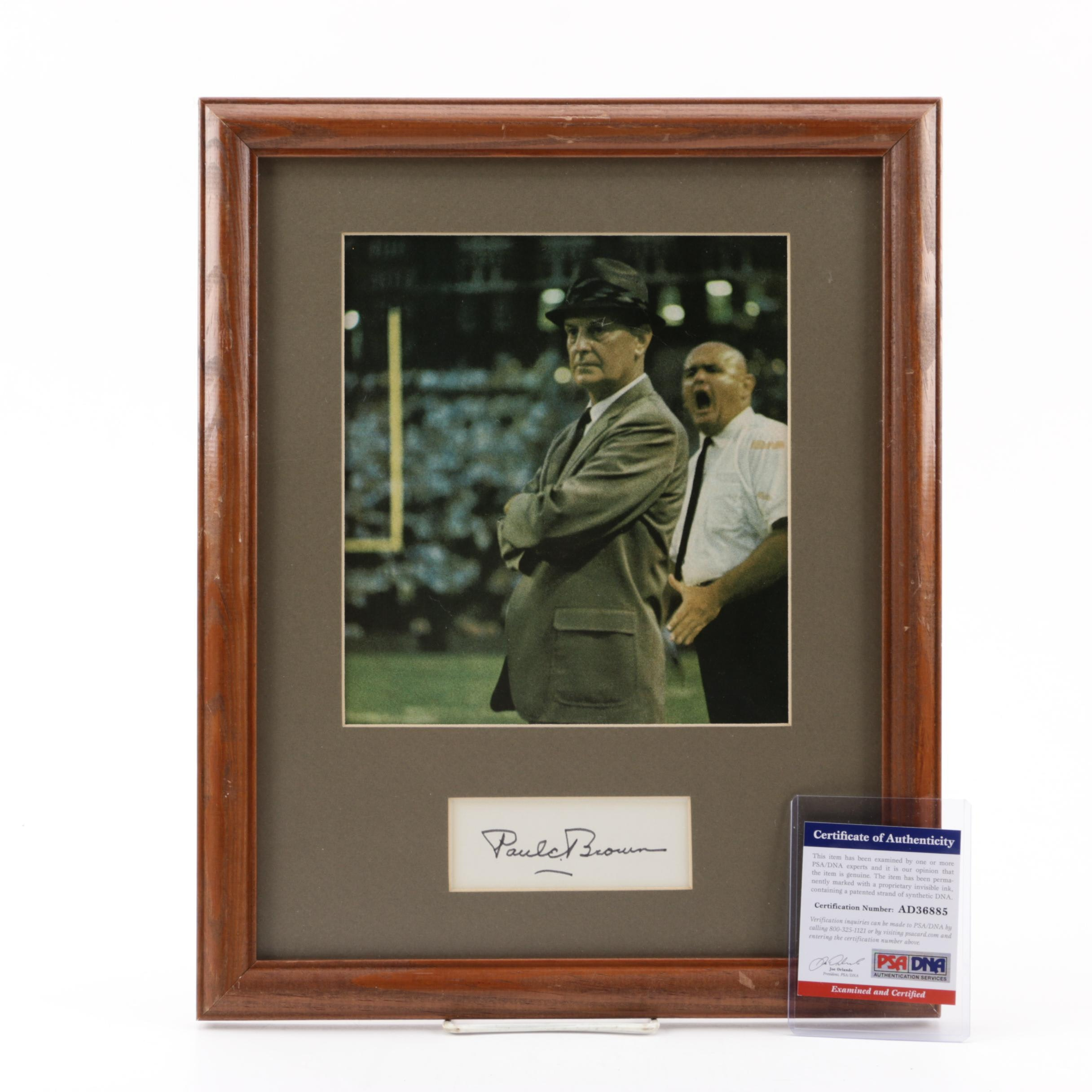 Paul Brown (HOF) Autographed Index Card with Photograph, PSA/DNA COA
