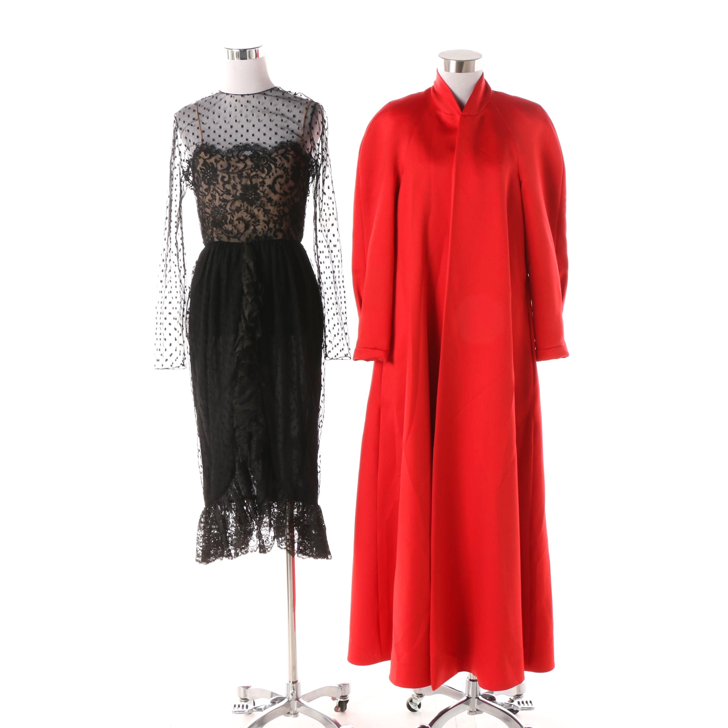 Victor Costa Red Evening Coat and Bill Blass Lace Cocktail Dress
