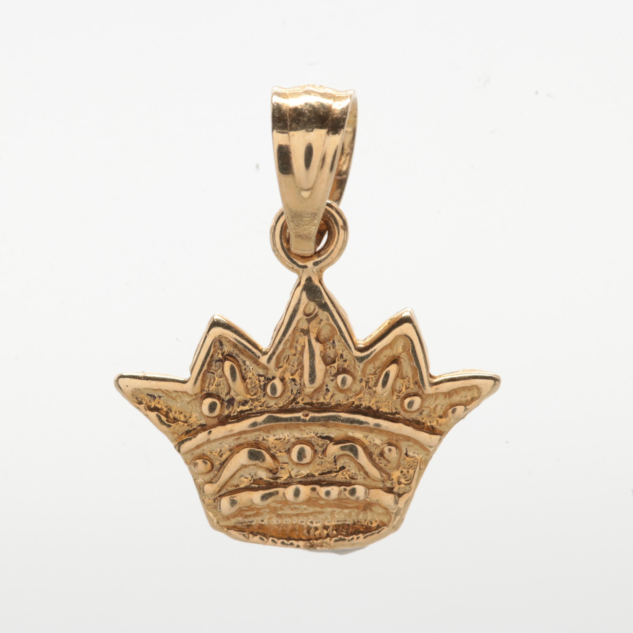 Dazzlers 14K Yellow Gold Crown Pendant