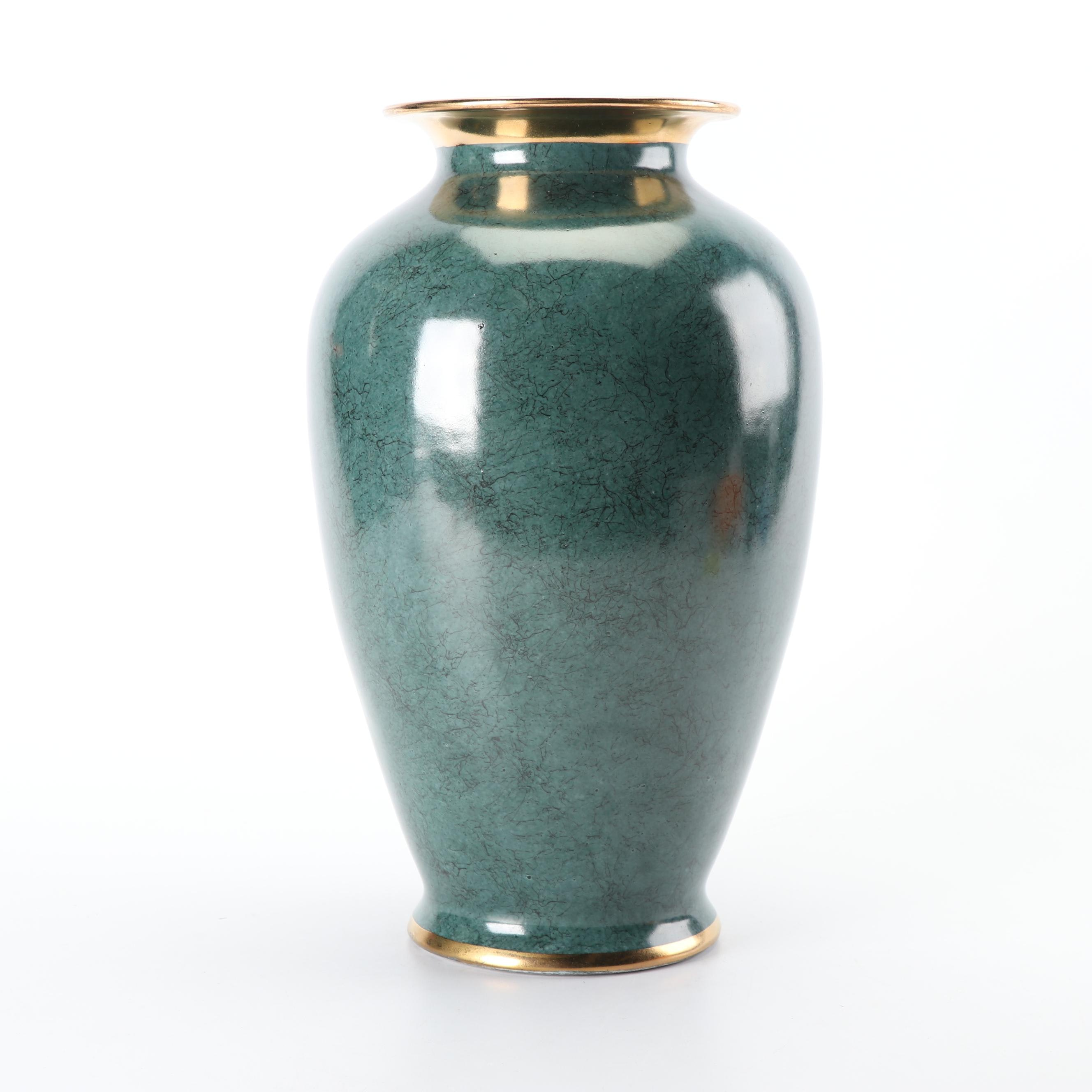Chinese Ceramic Vase with Gold Metallic Trim