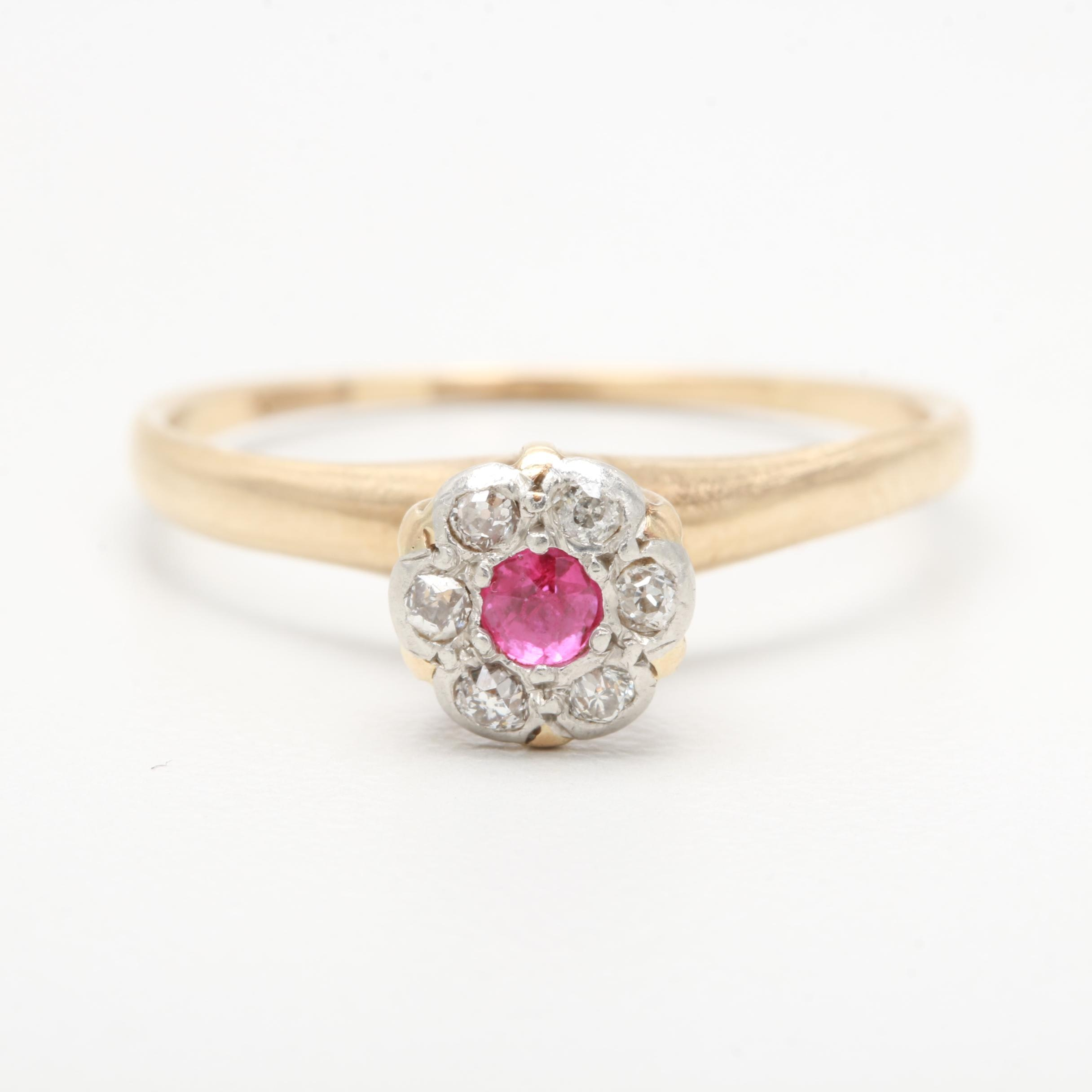 14K Yellow Gold Synthetic Ruby and Diamond Ring with Platinum Accent