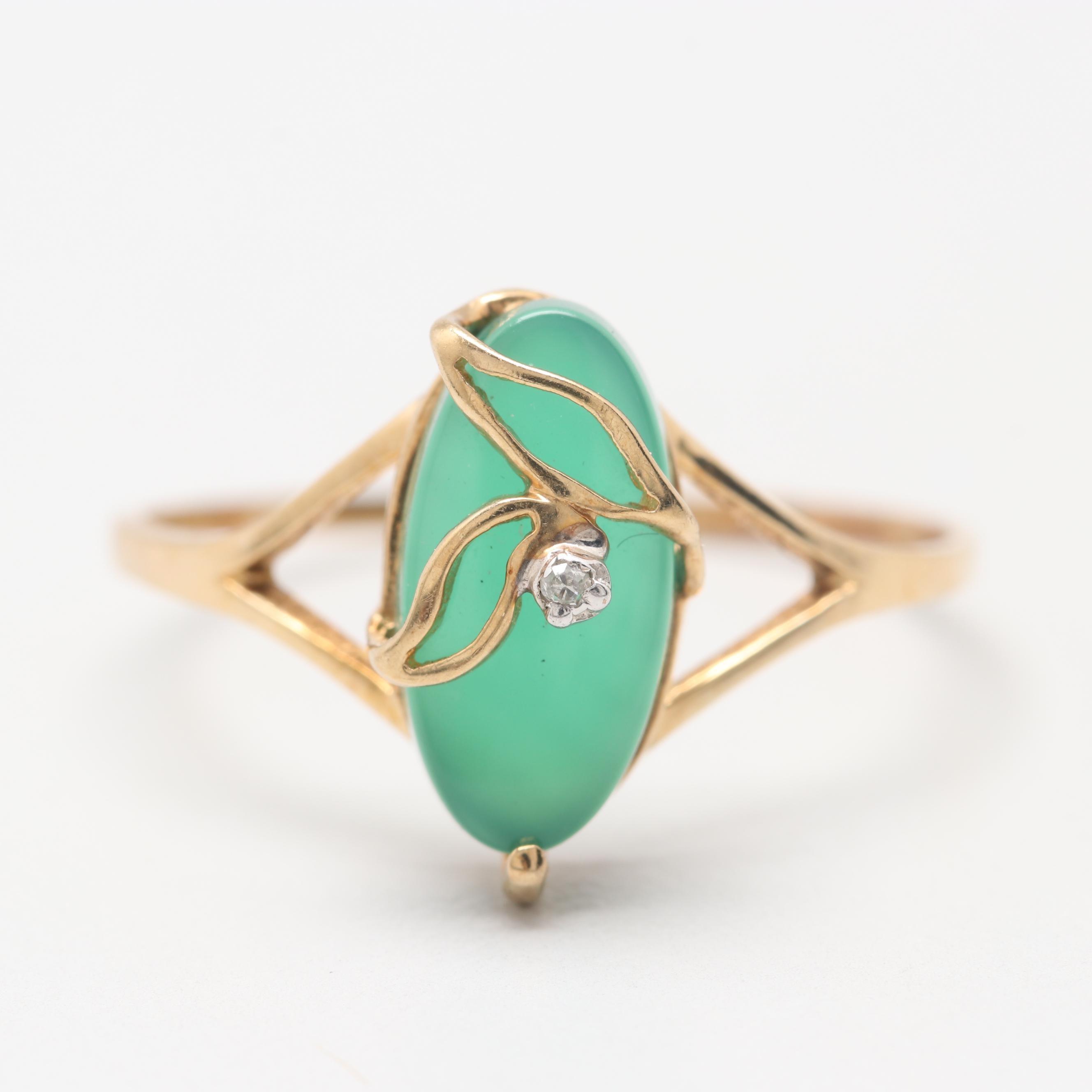 10K Yellow Gold Diamond and Chalcedony Ring