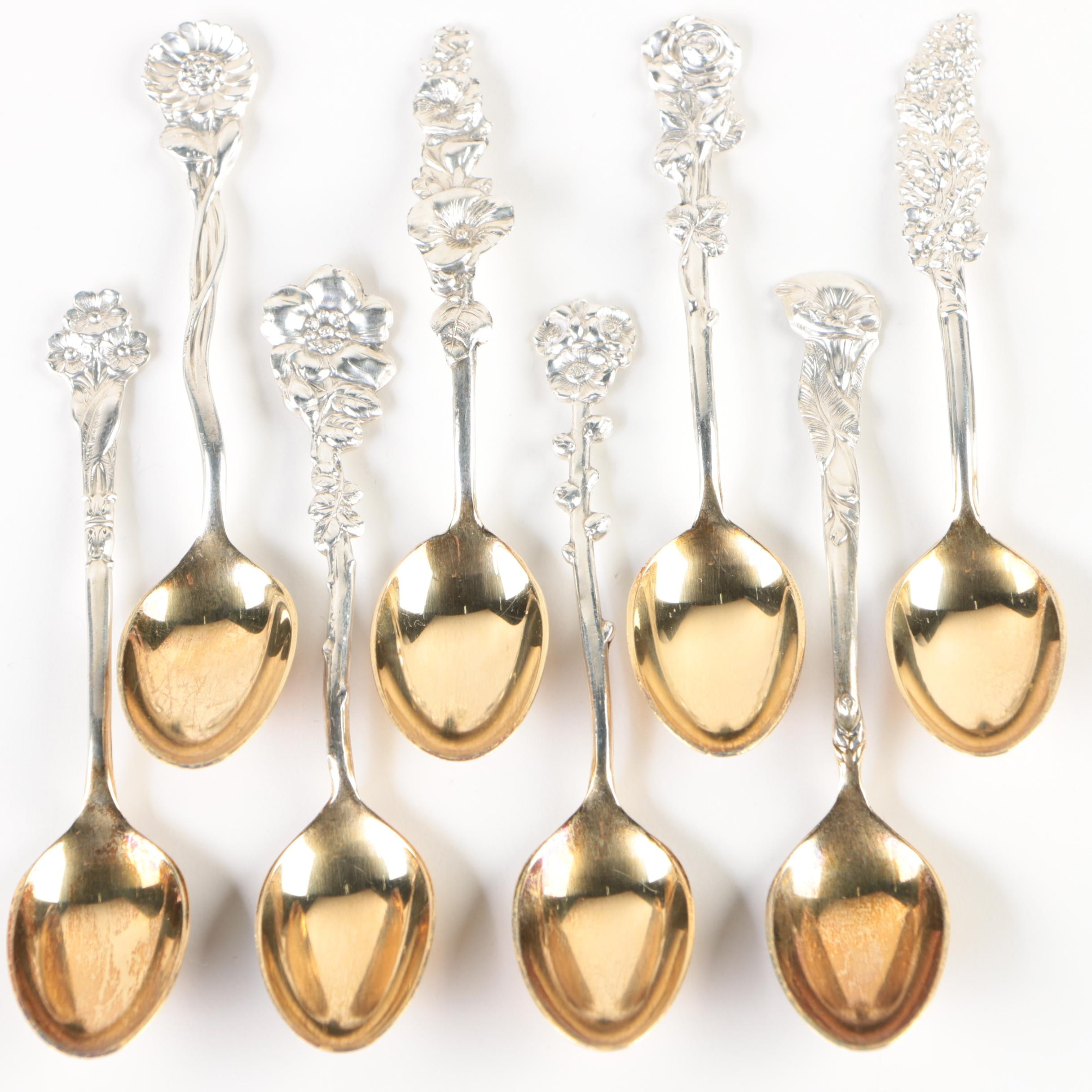 """Reed & Barton """"Harlequin"""" Sterling Demitasse Spoons with Gold Washed Bowls"""