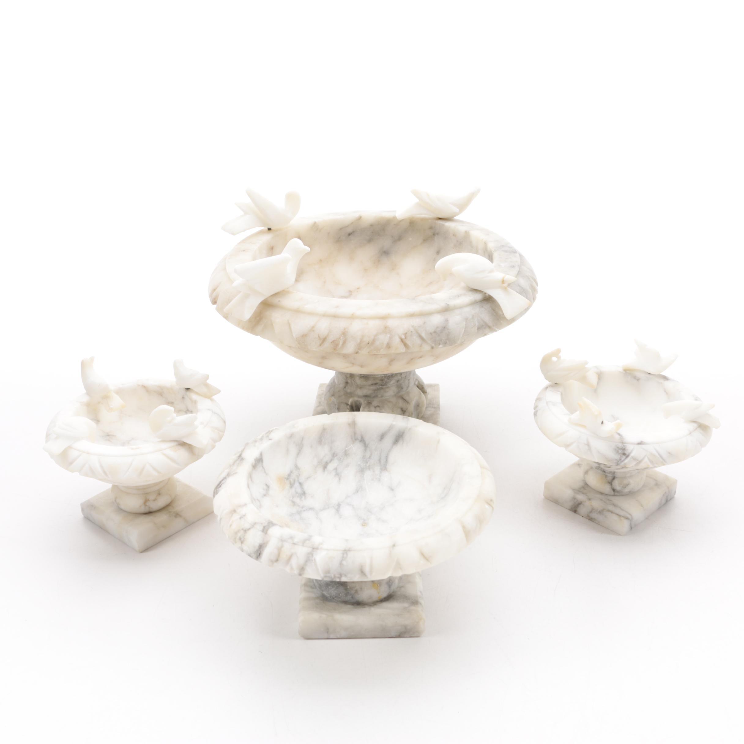 Italian Marble Tabletop Bird Baths