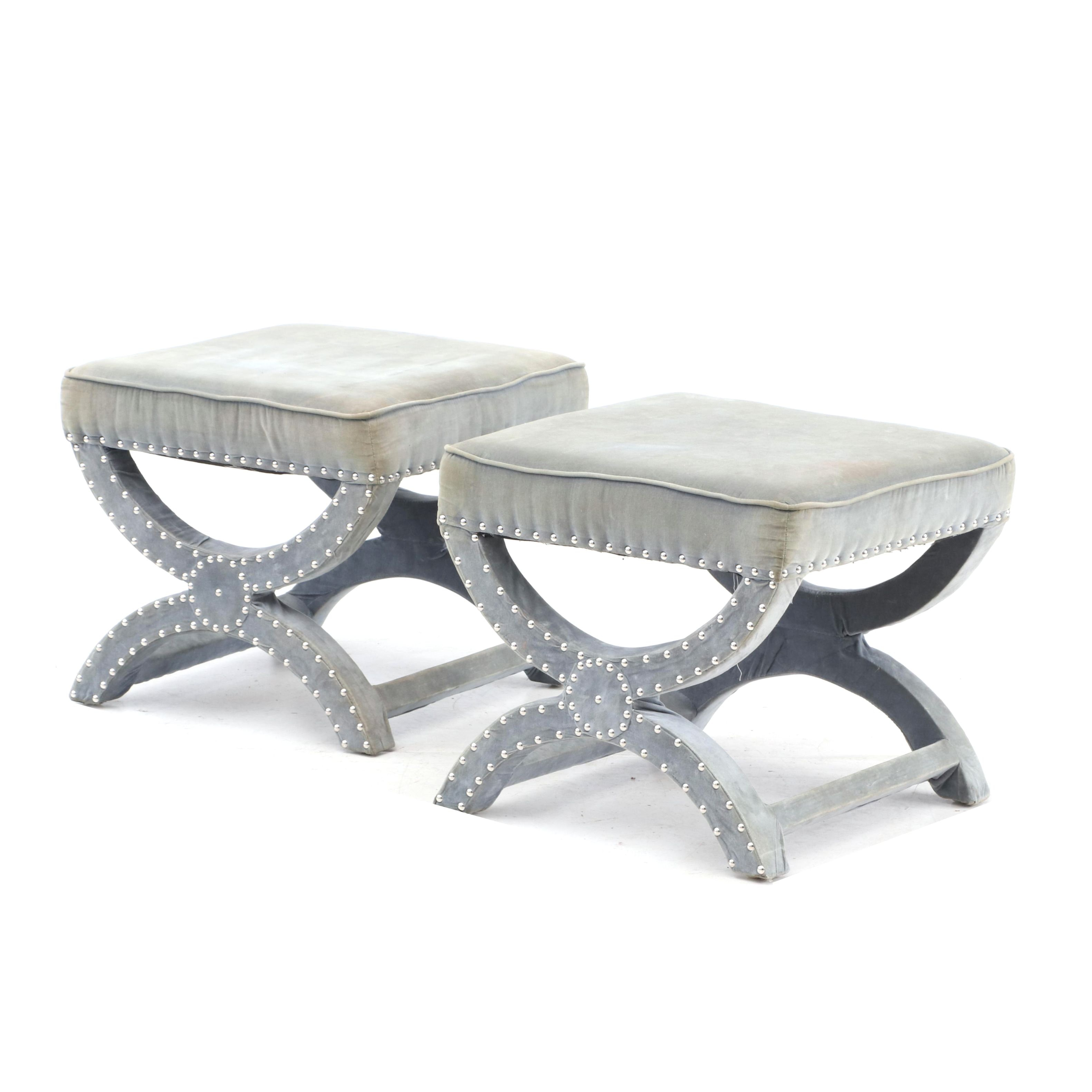 Contemporary Upholstered Curule Stools by Safavieh