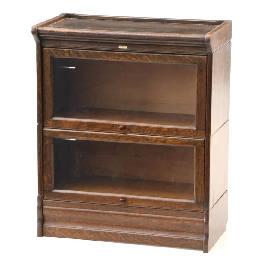 American Oak Barrister Bookcase By Lundstrom Early 20th Century