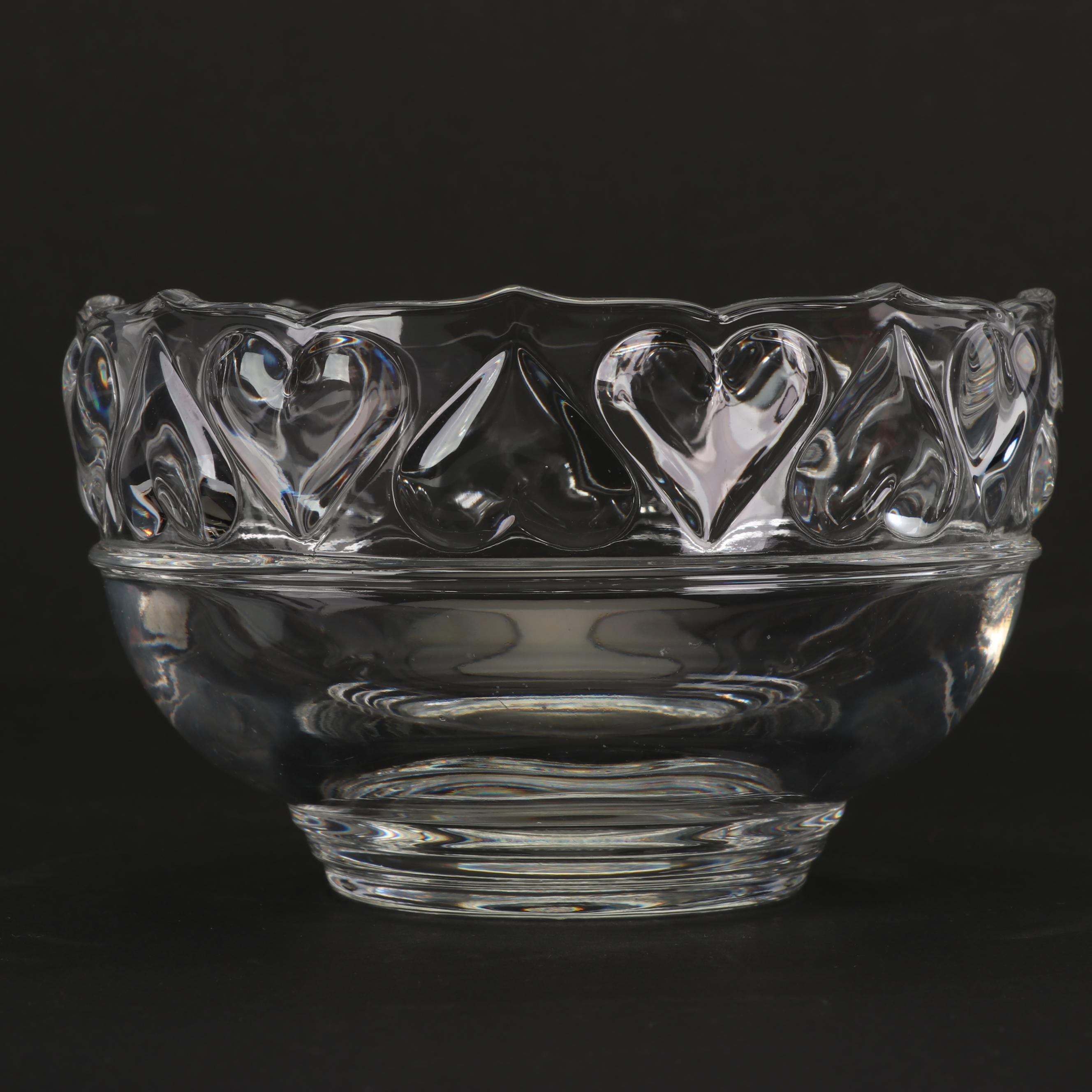 "Tiffany & Co ""Hearts"" Crystal Bowl"