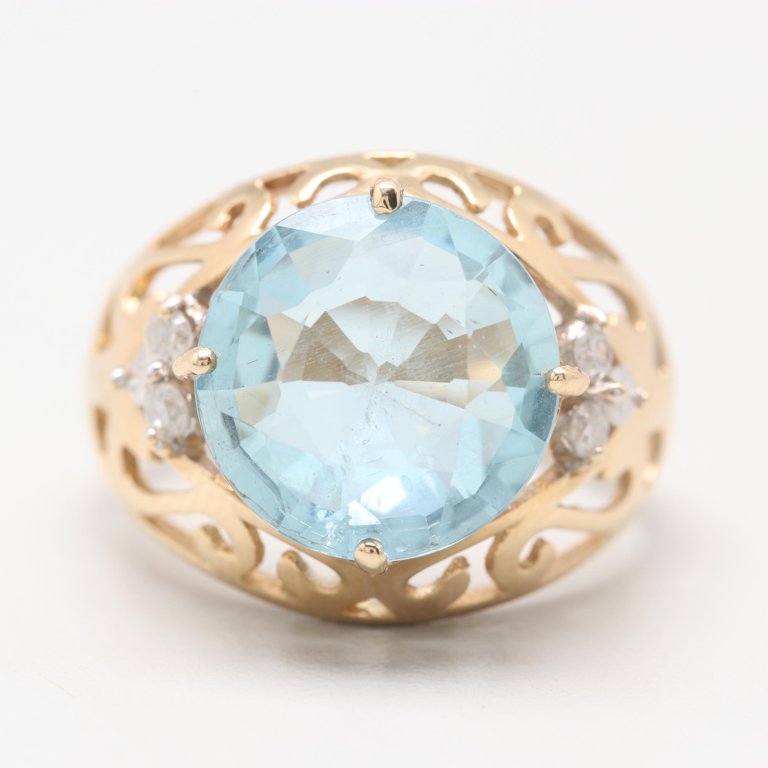 14K Yellow Gold 3.17 CT Aquamarine and Diamond Ring