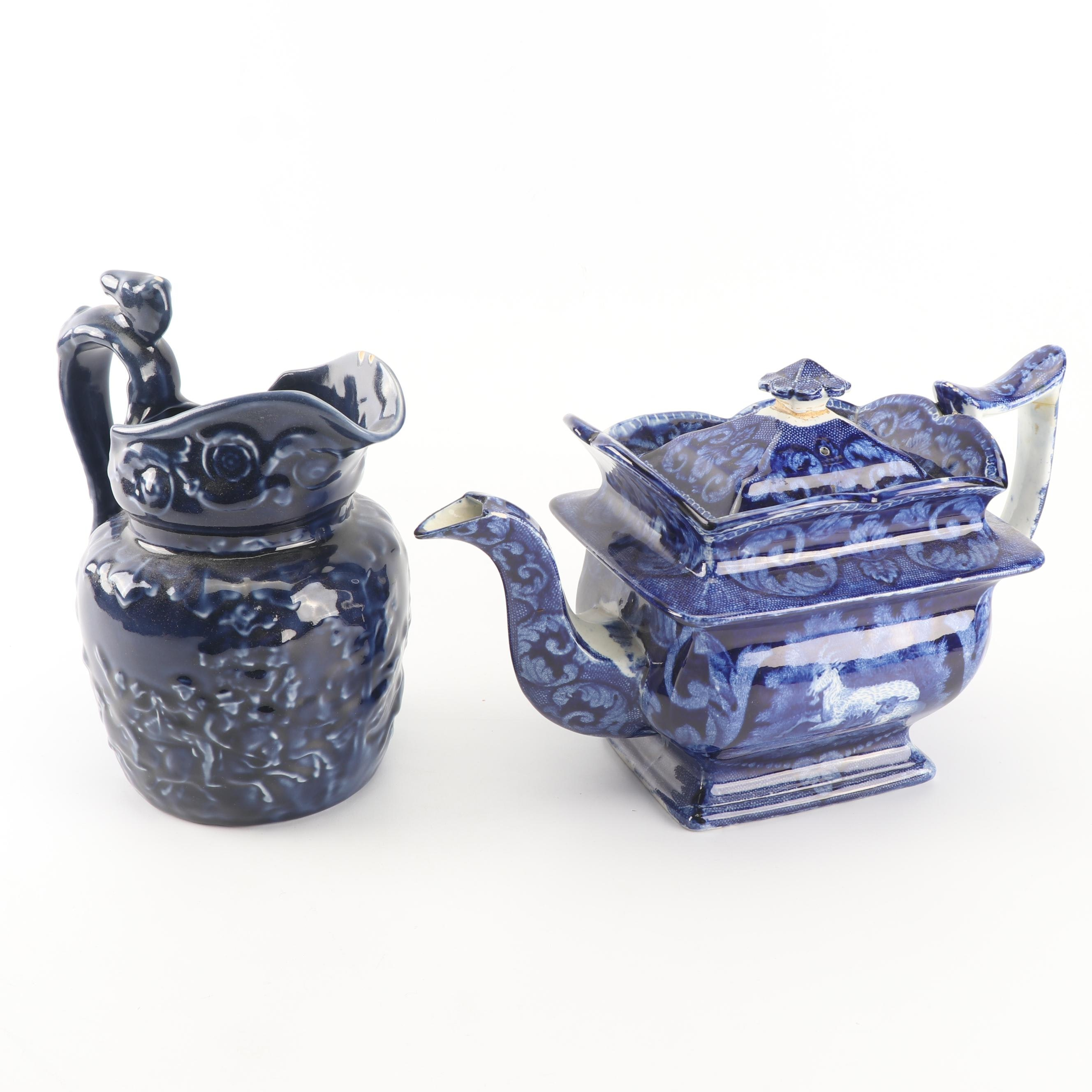 Arthur Wood Blue Glazed Pottery Pitcher with English Transfer-Printed Teapot