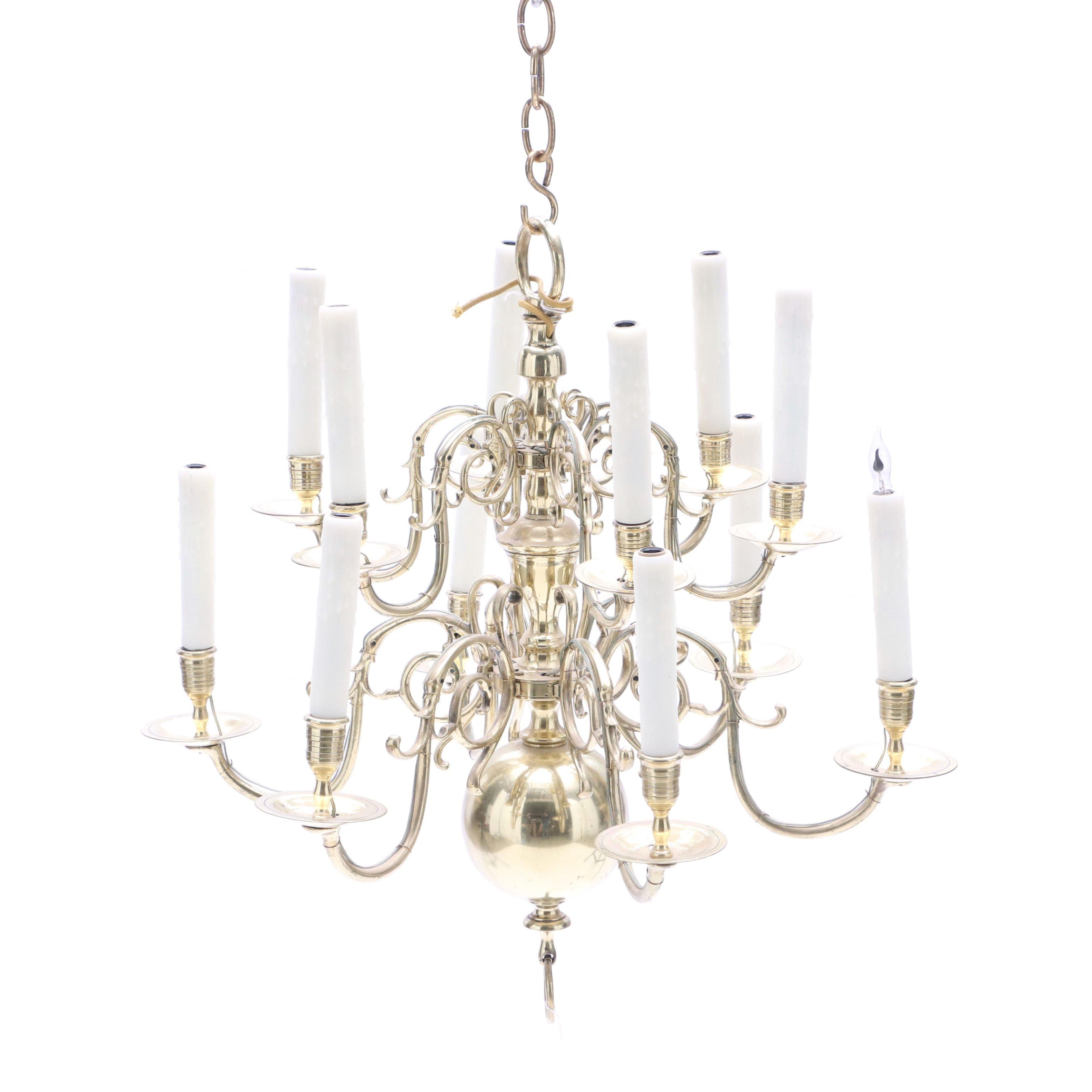 Twelve Light Brass Chandelier
