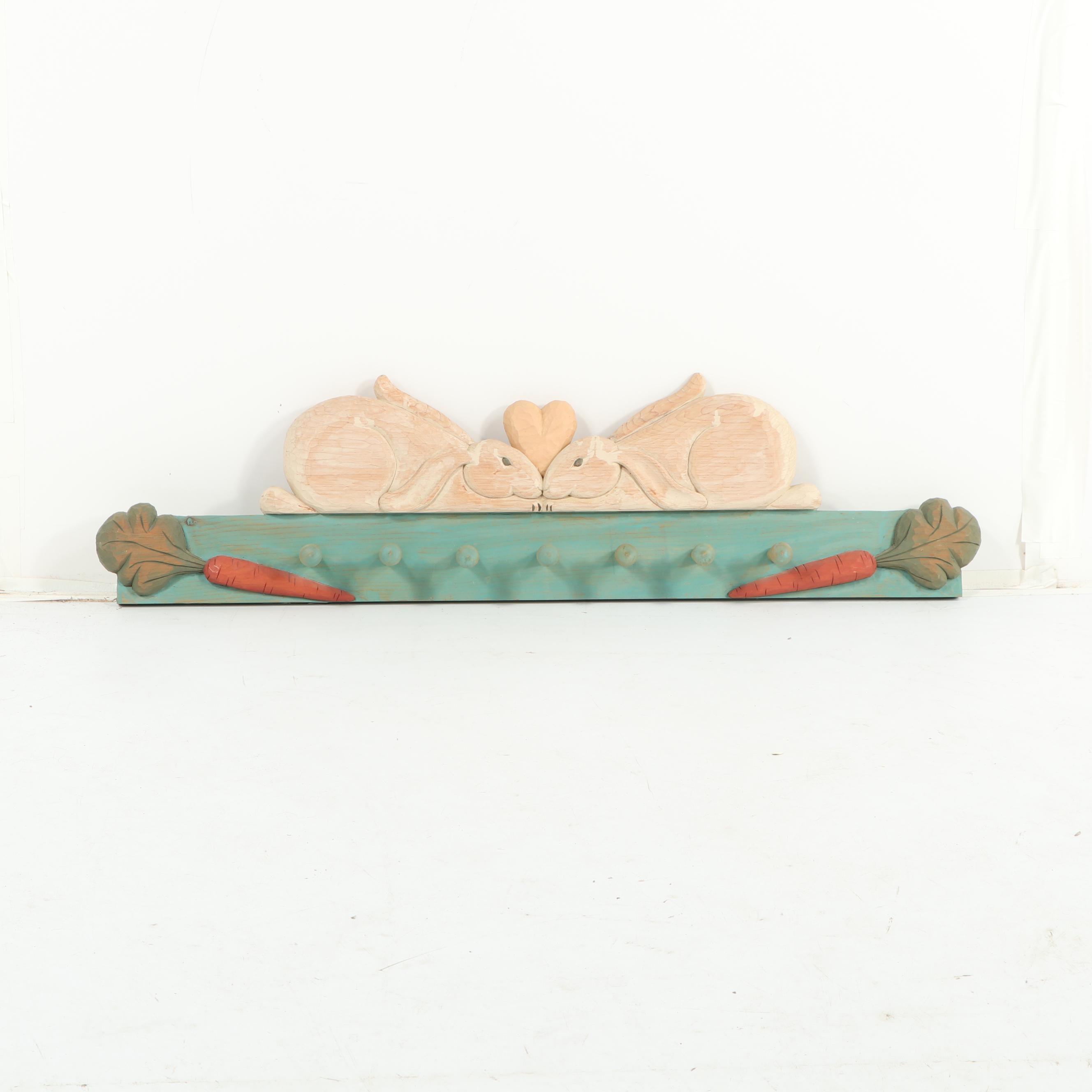 Raintree Carvings Carved Wood Rabbit Themed Wall Hooks