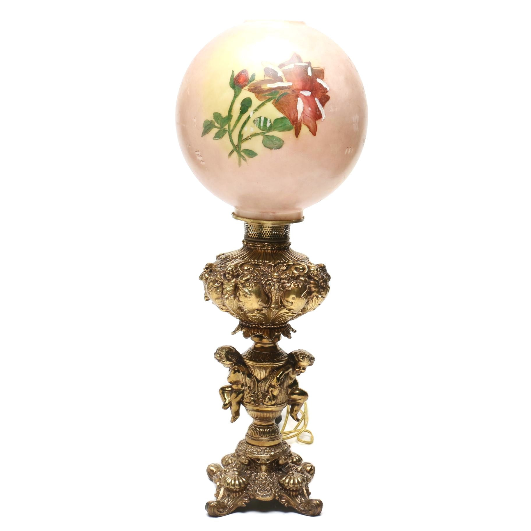 Contemporary Parlor Style Lamp with Globe Shade