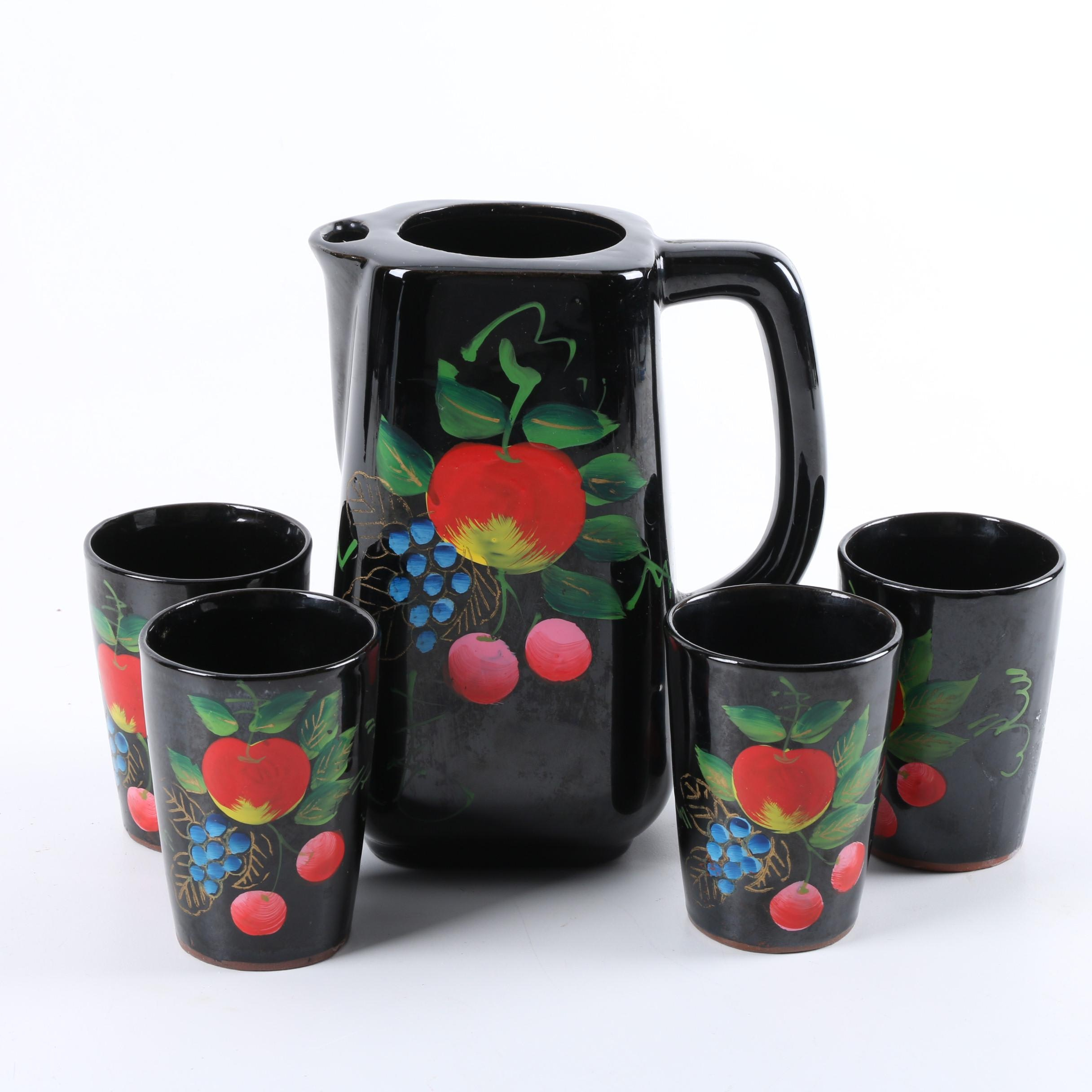 Japanese Belco Hand-Painted Ceramic Pitcher with Glasses