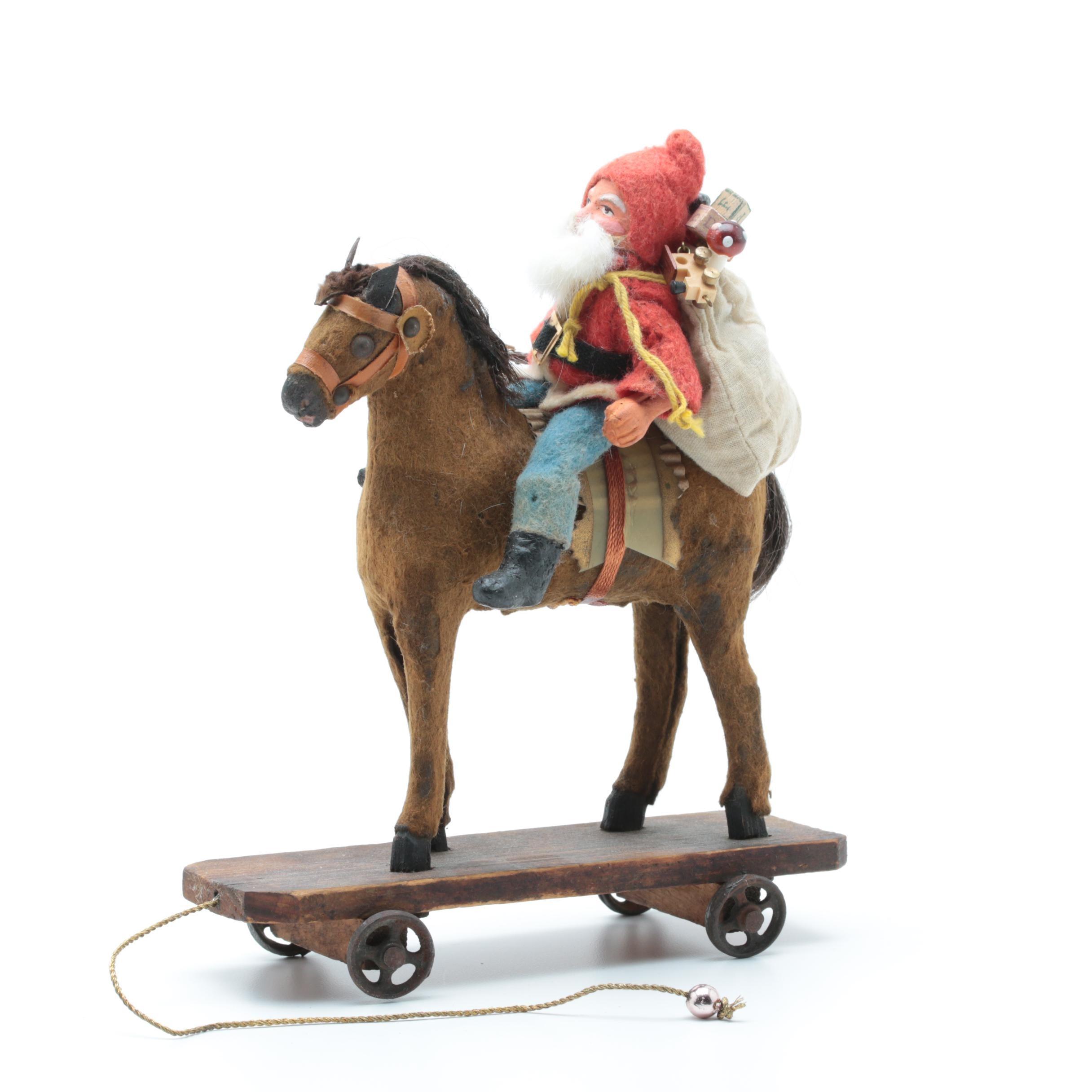 Antique German Belsnickle Astride a Papier-Mâché Platform Horse