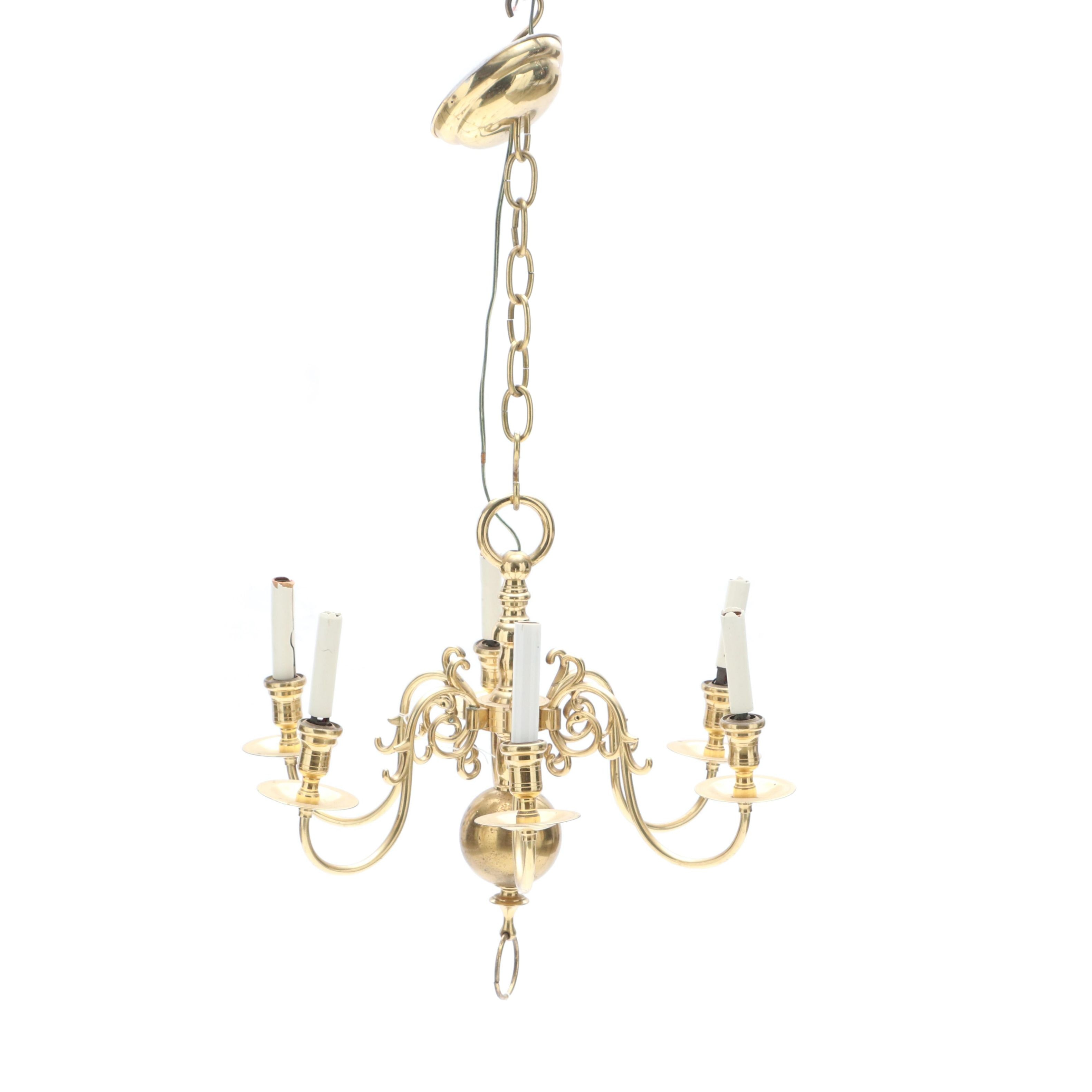 Six Light Brass Chandelier