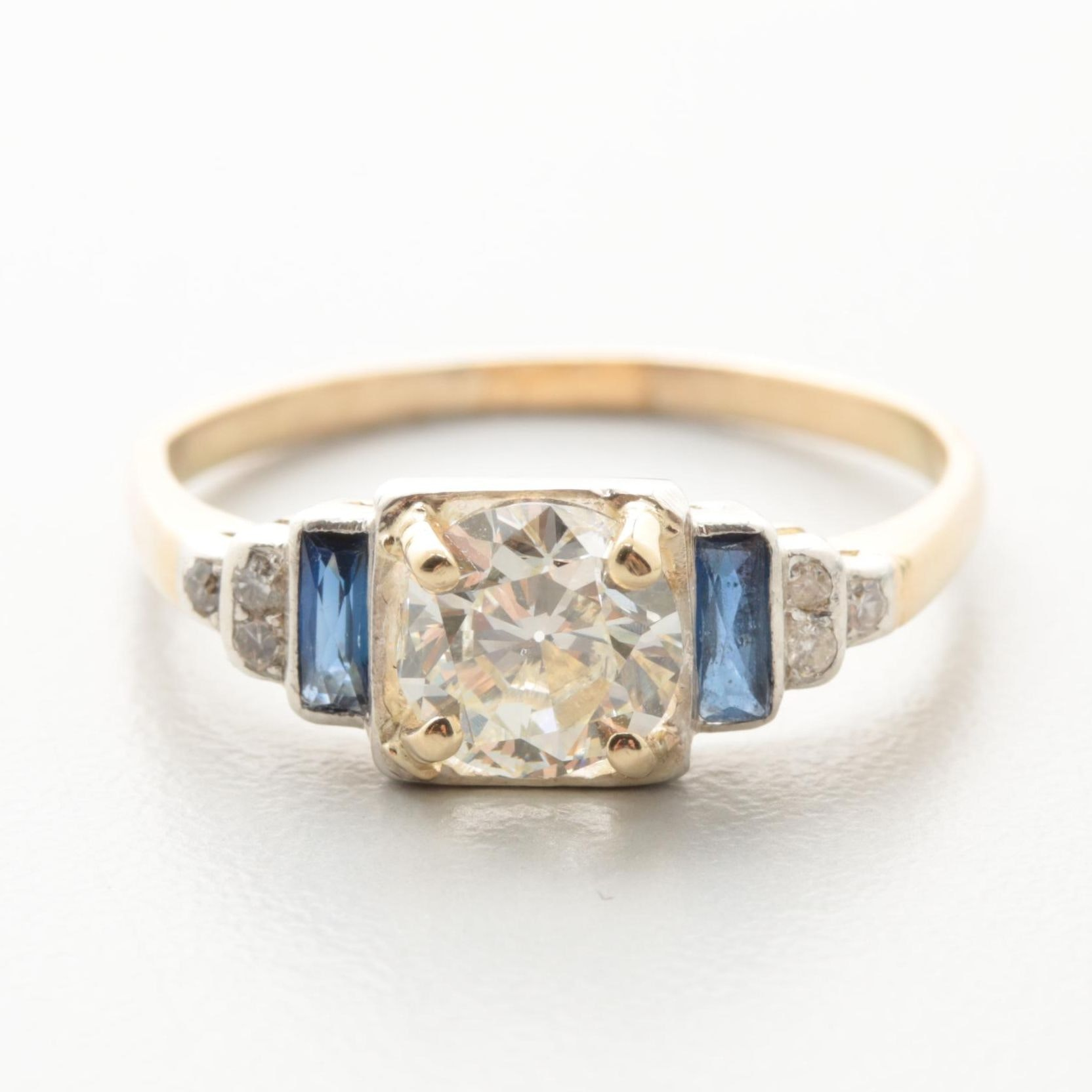 14K Yellow Gold 0.88 CTW Diamond and Synthetic Sapphire Ring