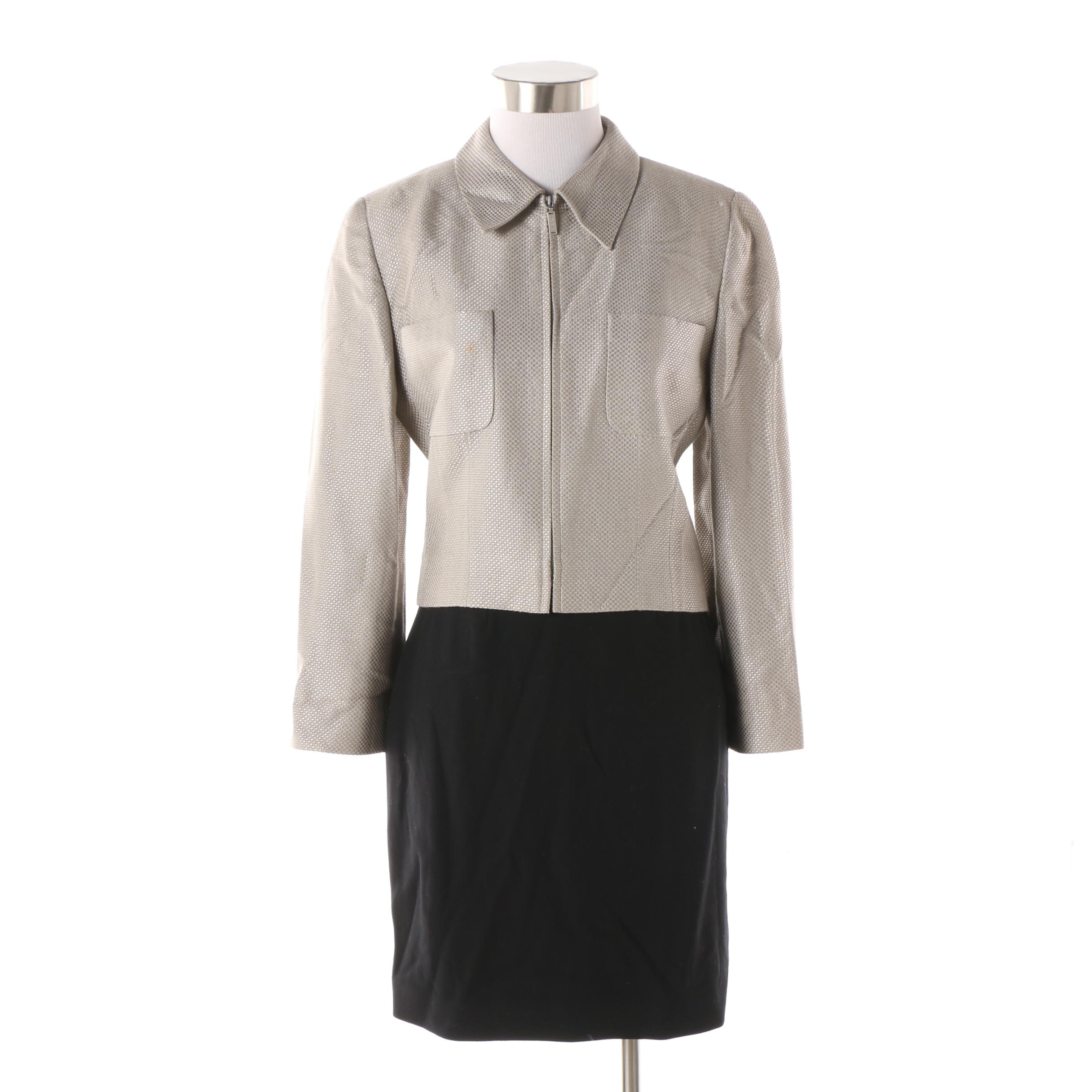 Circa 1990s Chanel Boutique Grey Zip Jacket and Black Wool Pencil Skirt