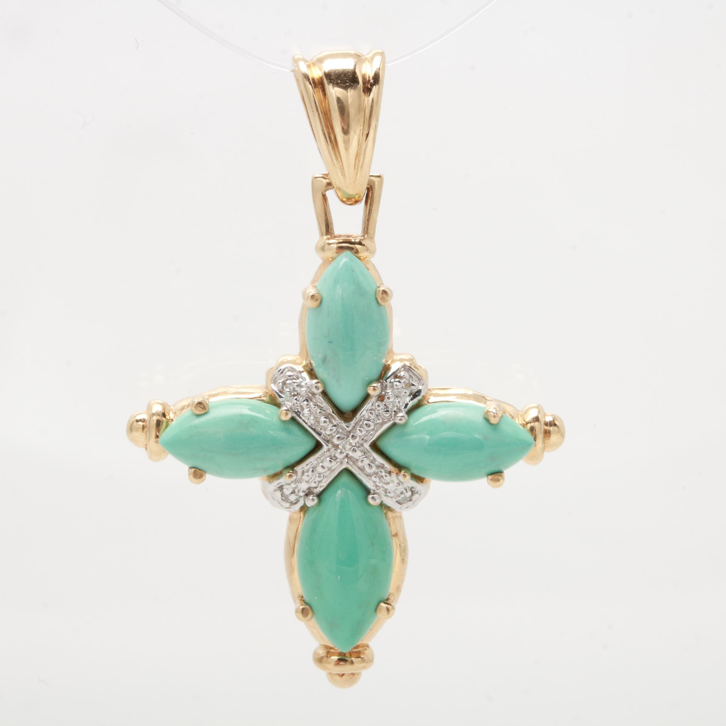 14K Yellow Gold Turquoise and Diamond Pendant