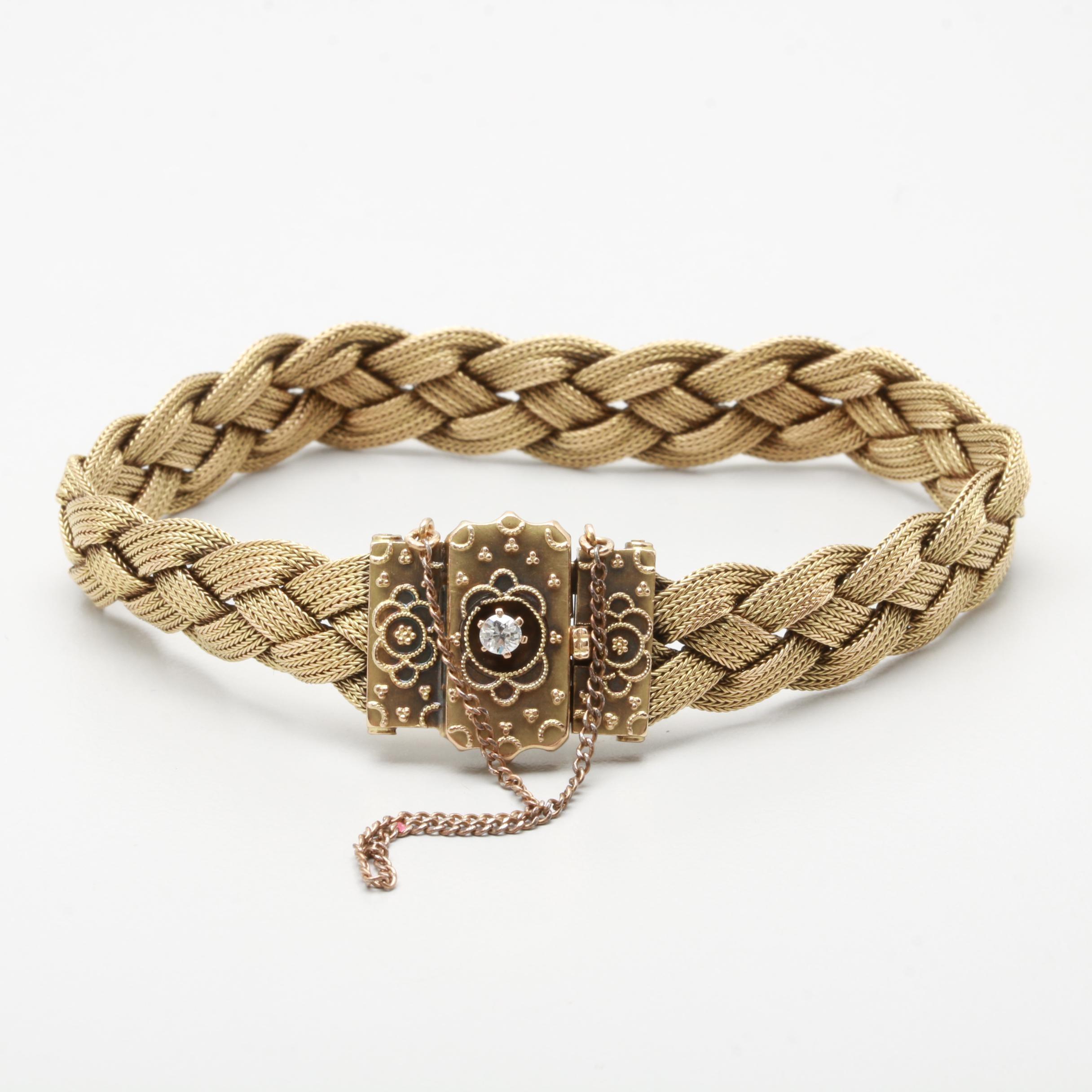 Victorian Braided 14K Yellow Gold and Old European Cut Diamond Bracelet