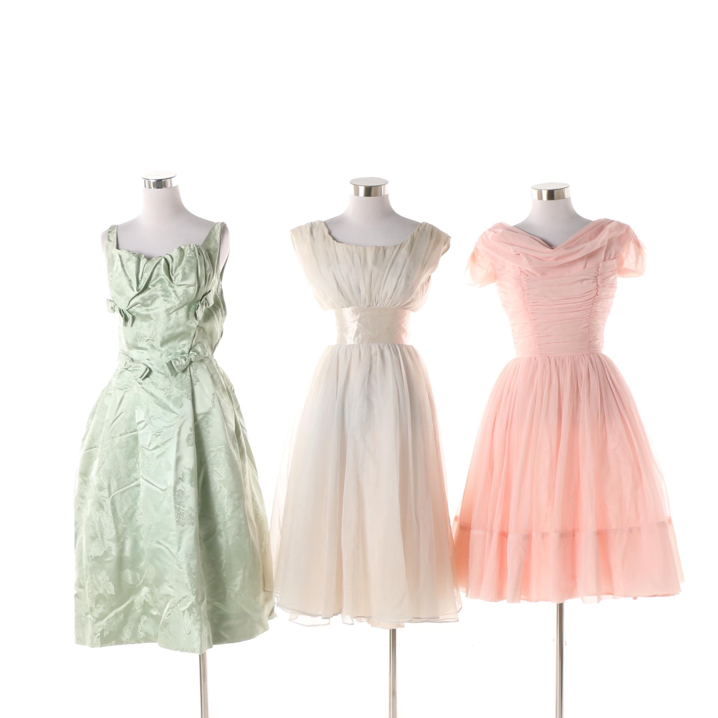 Circa 1950s Formal Dresses including Florence Lustiq Mint Green Damask