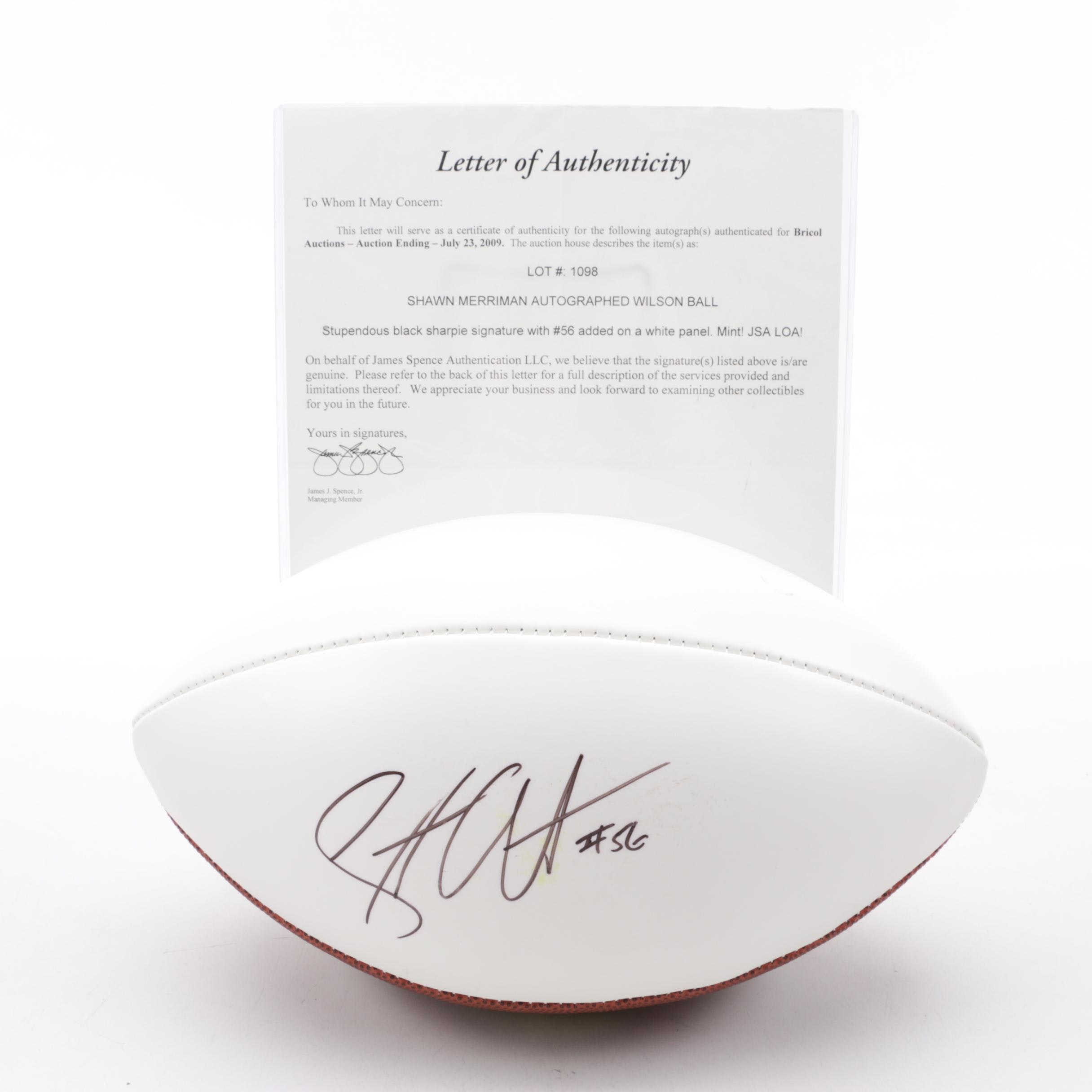 "Shawne Merriman Autographed Wilson ""The Duke"" NFL Football, JSA LOA"