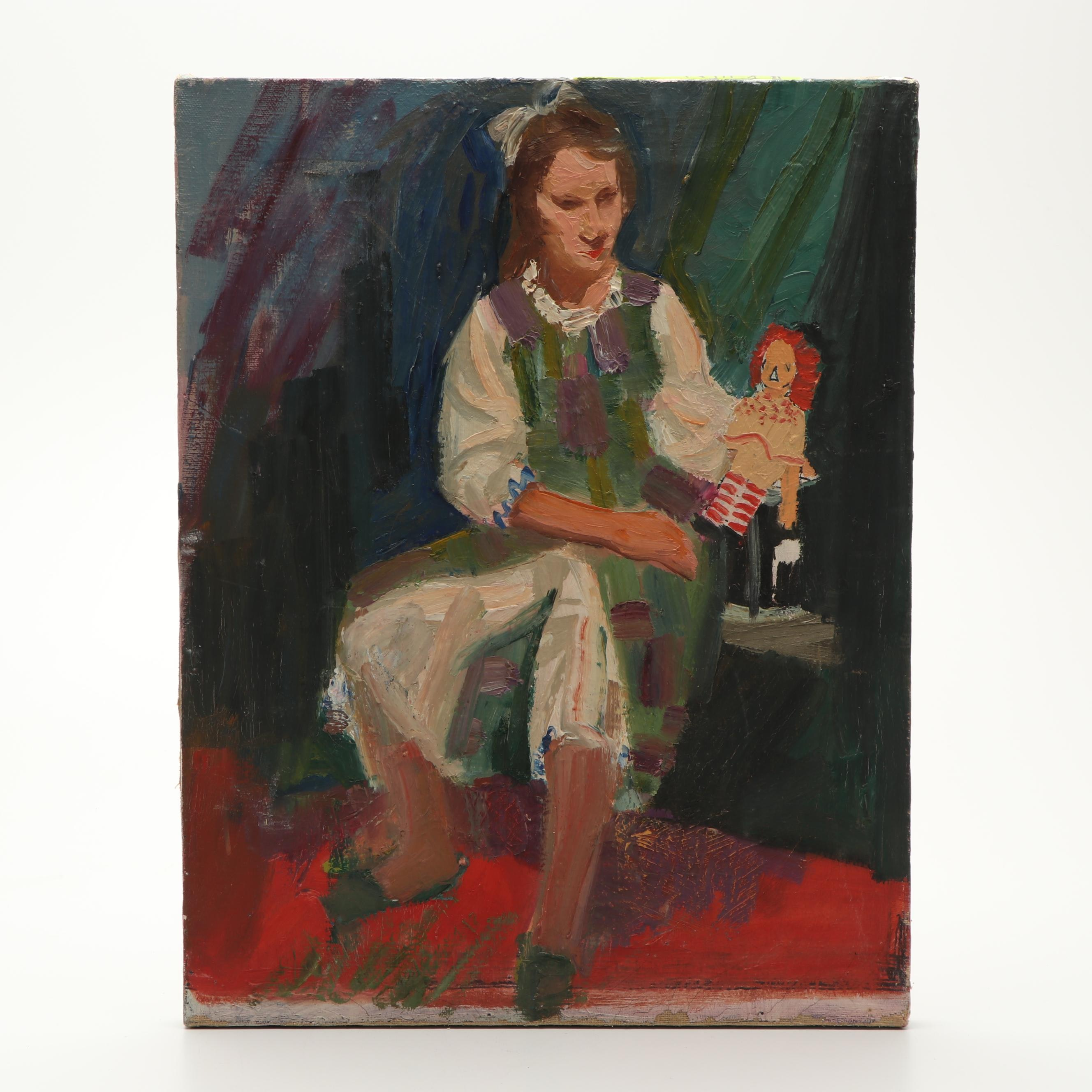 Portrait Oil Painting of Girl with Doll