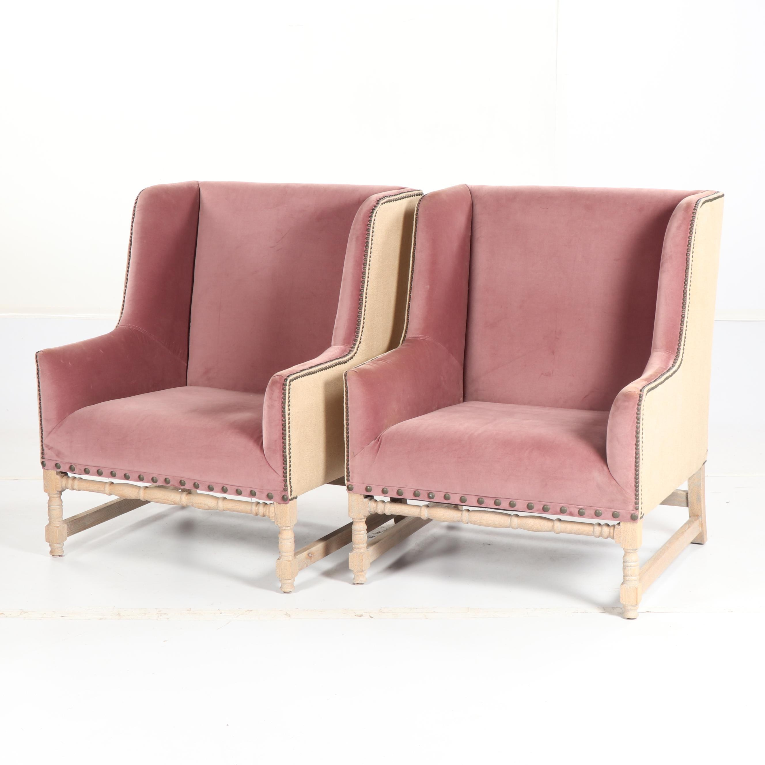 Velvet Upholstered Wingback Armchairs by Walter E. Smithe, 21st Century