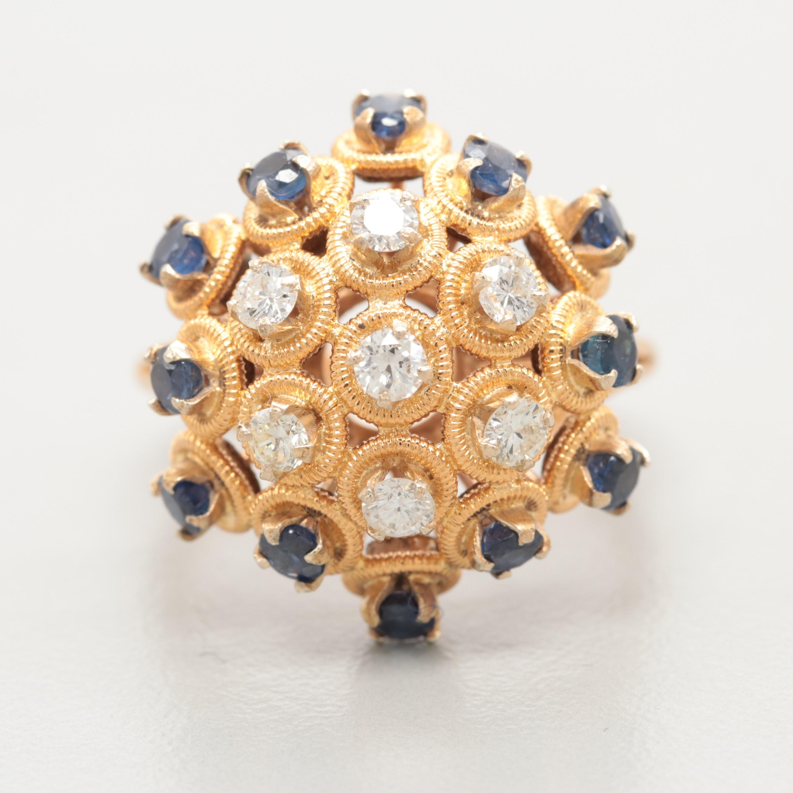 18K Yellow Gold Diamond and Blue Sapphire Cocktail Ring